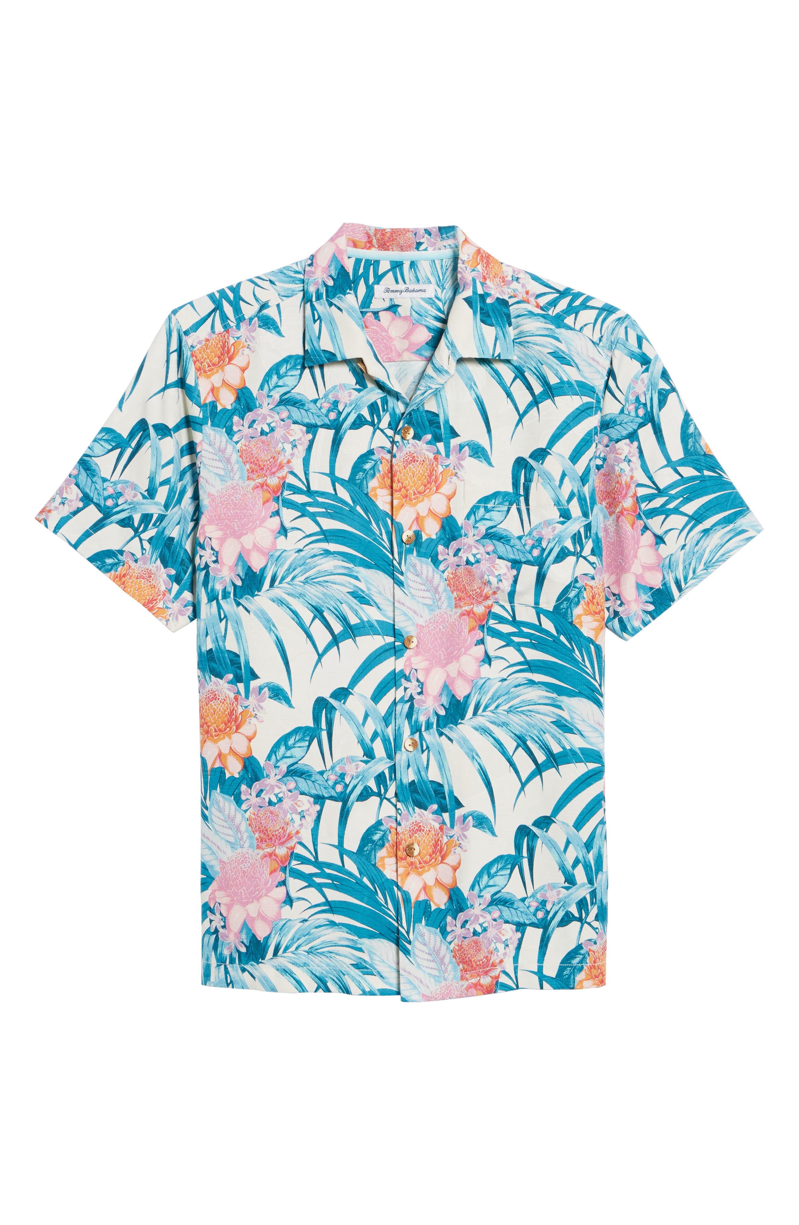 Garden of Hope and Courage Regular Fit Silk Blend Camp Shirt,                             Alternate thumbnail 6, color,                             100
