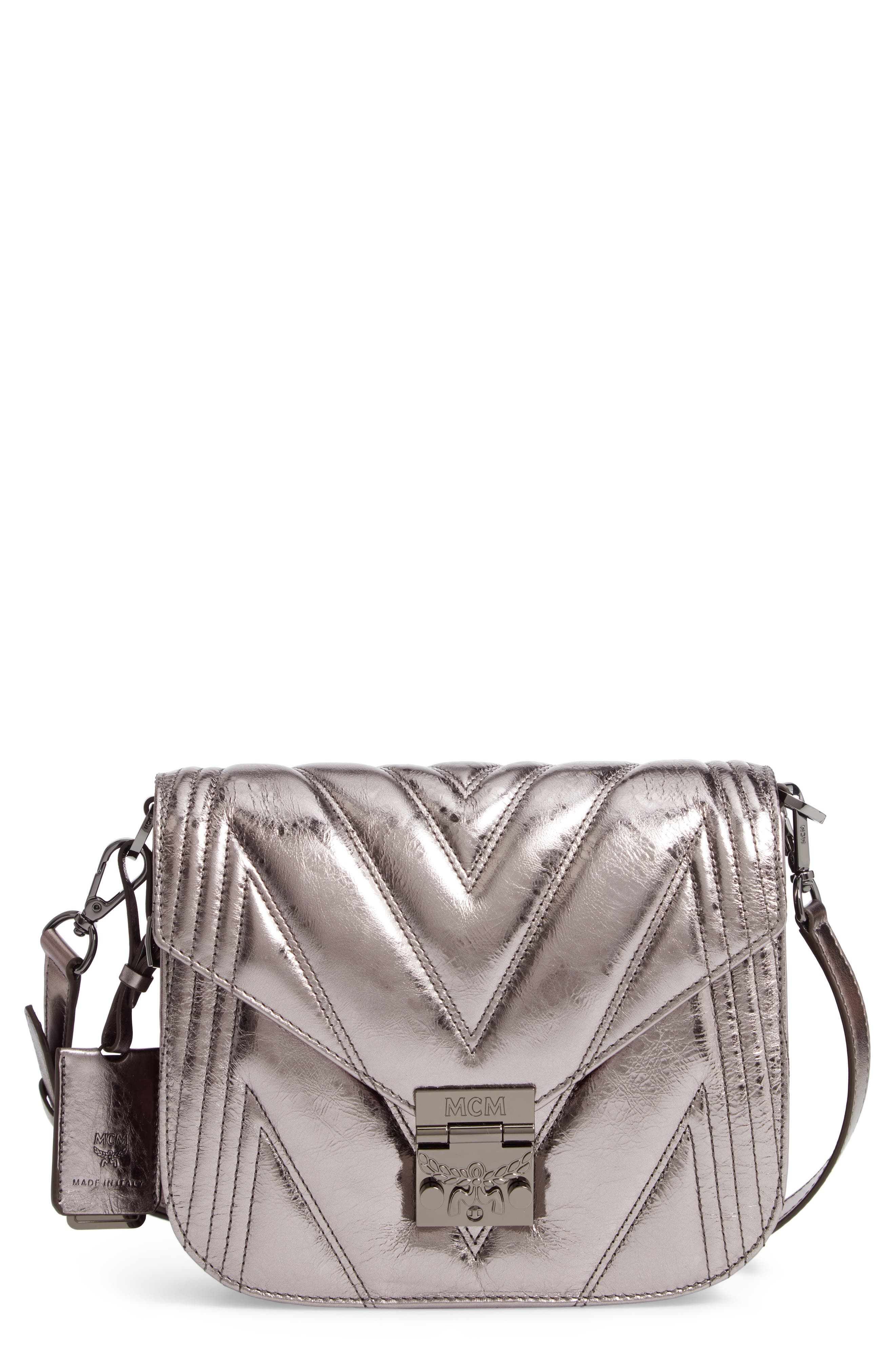 Patricia Quilted Metallic Leather Saddle Bag,                         Main,                         color, BERLIN SILVER