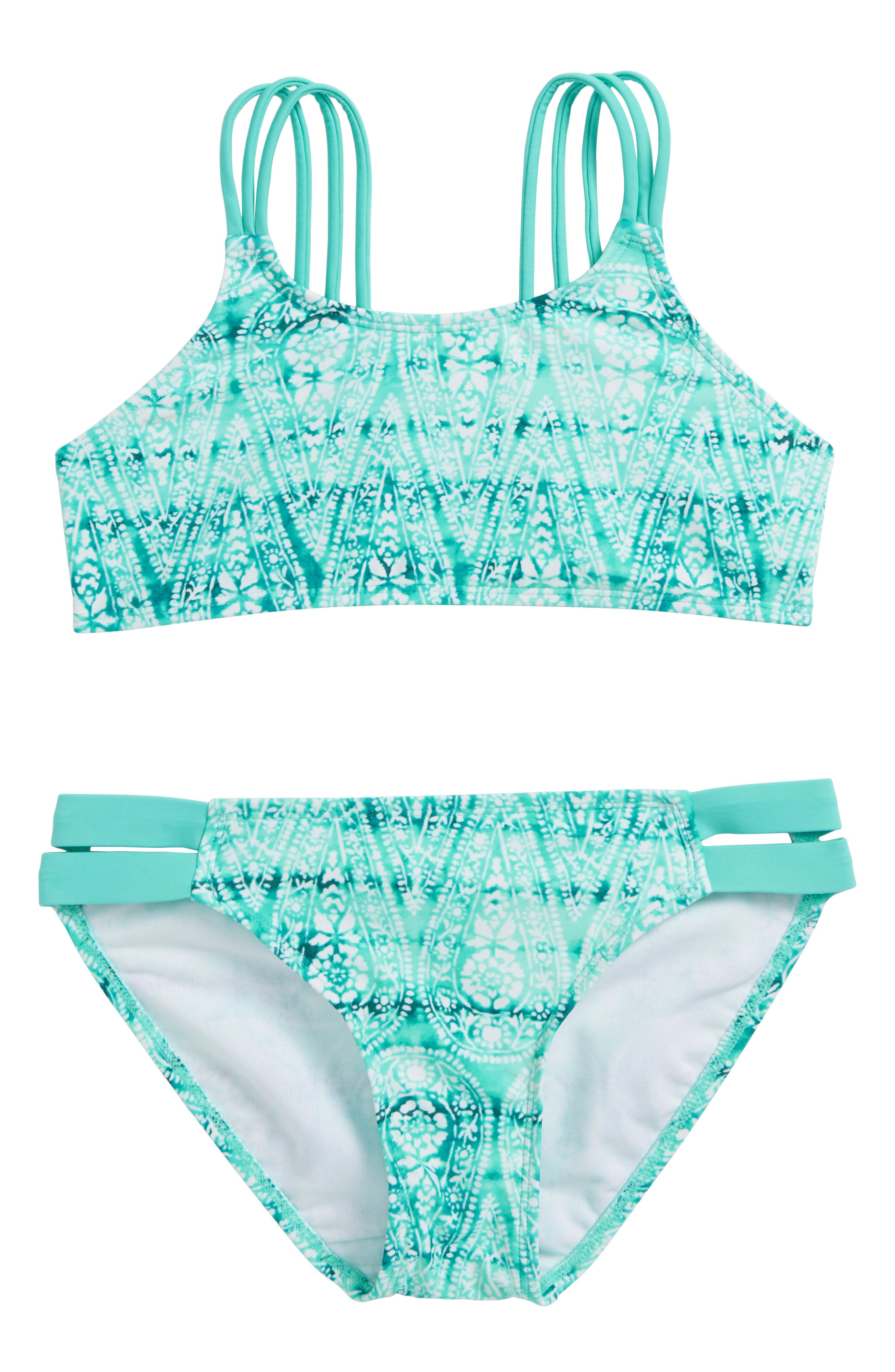 Two-Piece Swimsuit,                             Main thumbnail 1, color,                             BLUE/ GREEN