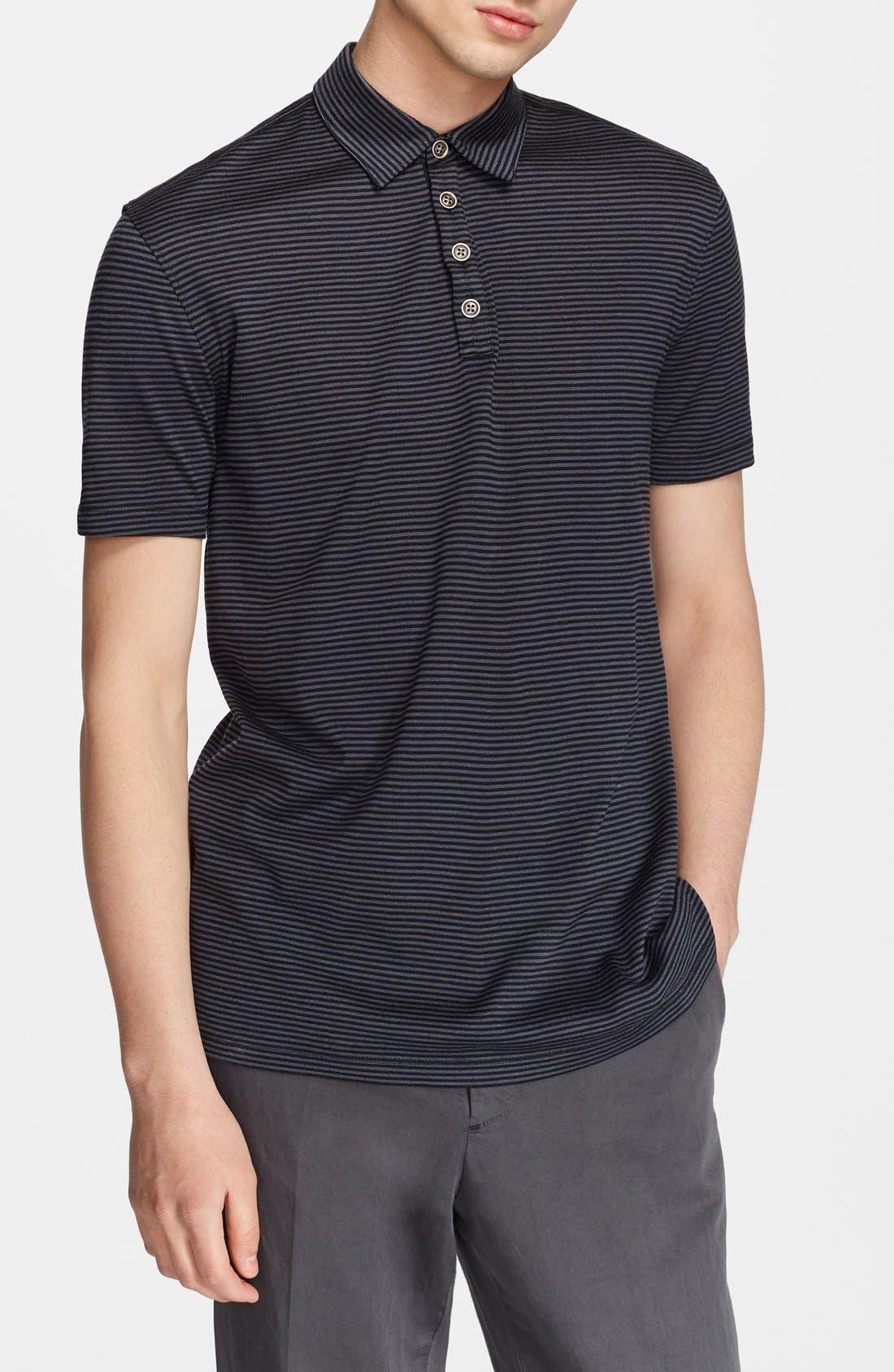 Hampton Stripe Silk & Cotton Polo,                         Main,                         color, BLACK