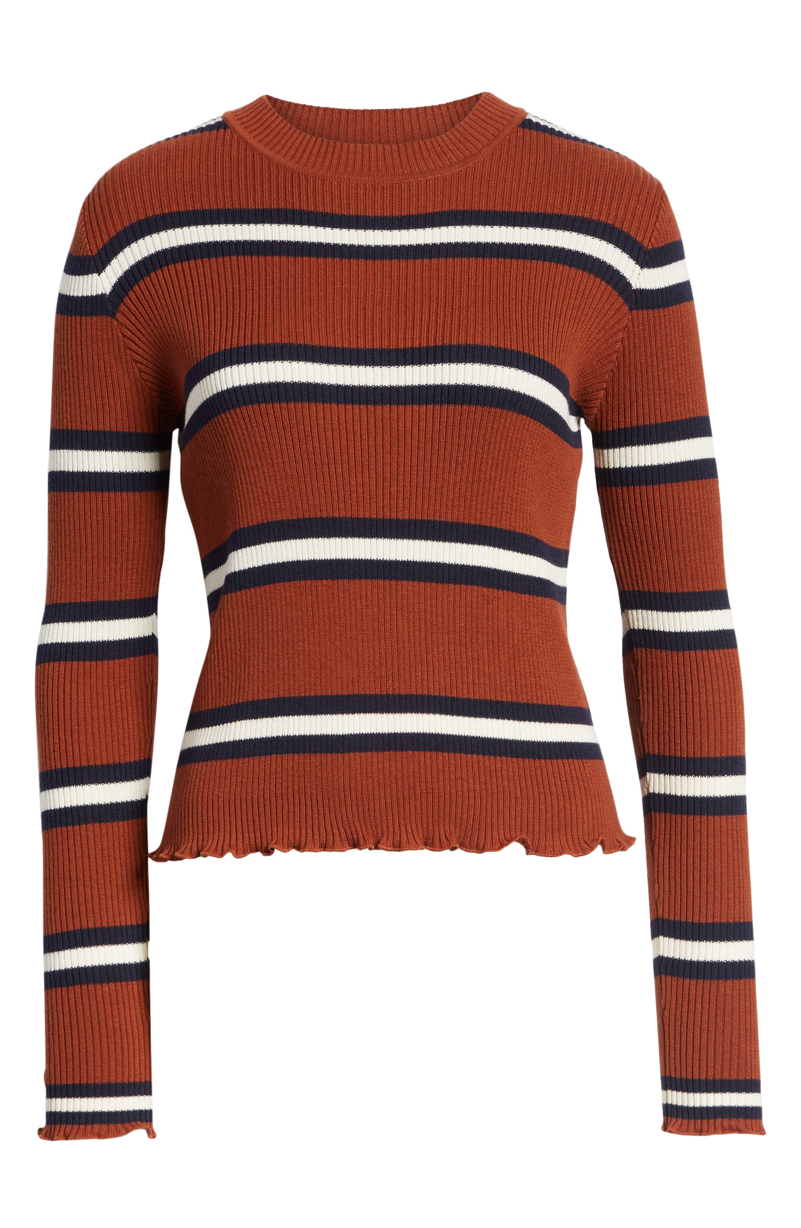 Ribbed Lettuce Edge Stripe Sweater,                             Alternate thumbnail 6, color,                             RUST SEQUOIA CLEO STRIPE