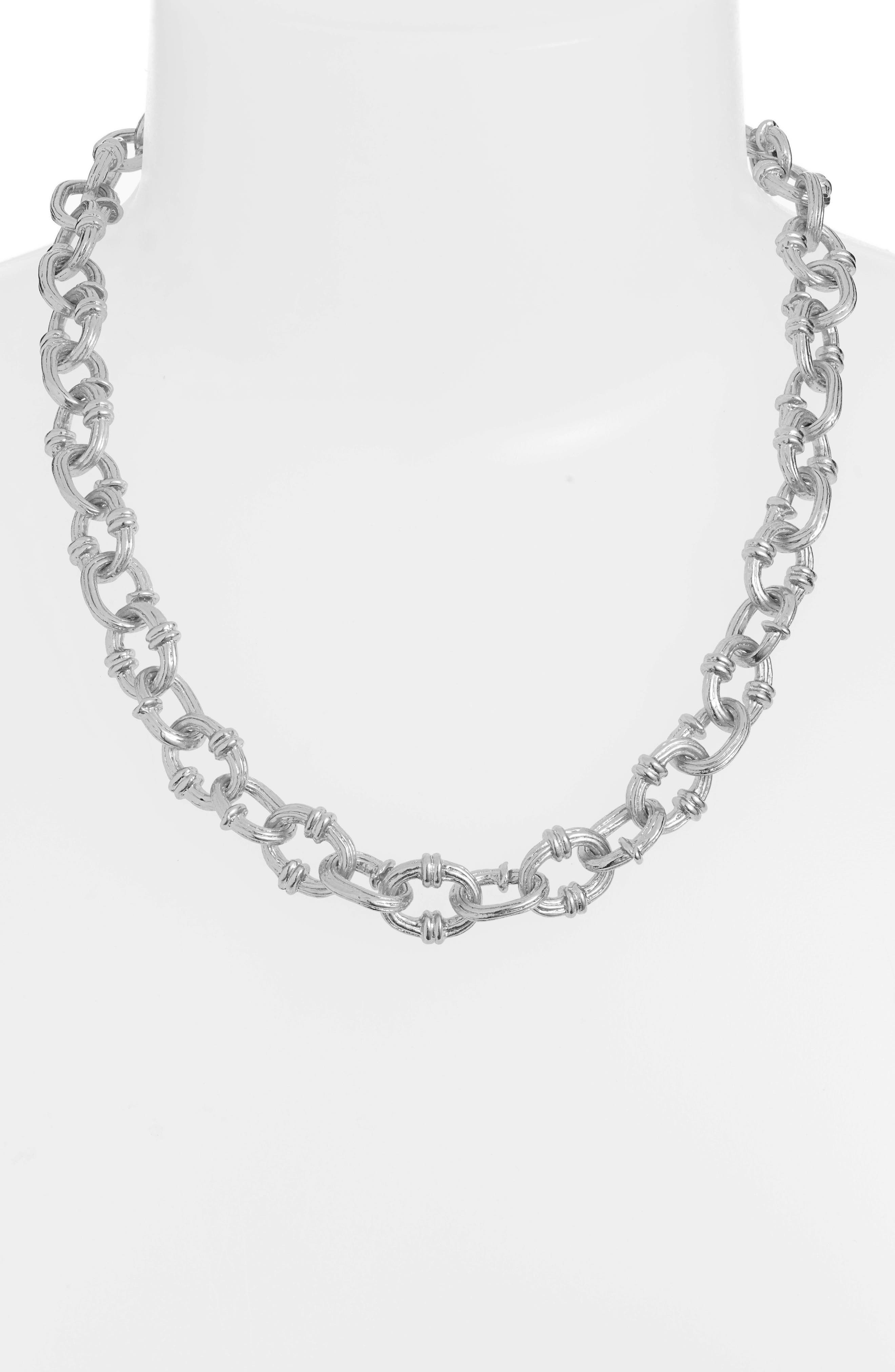 KARINE SULTAN,                             Textured Chain Necklace,                             Alternate thumbnail 2, color,                             SILVER