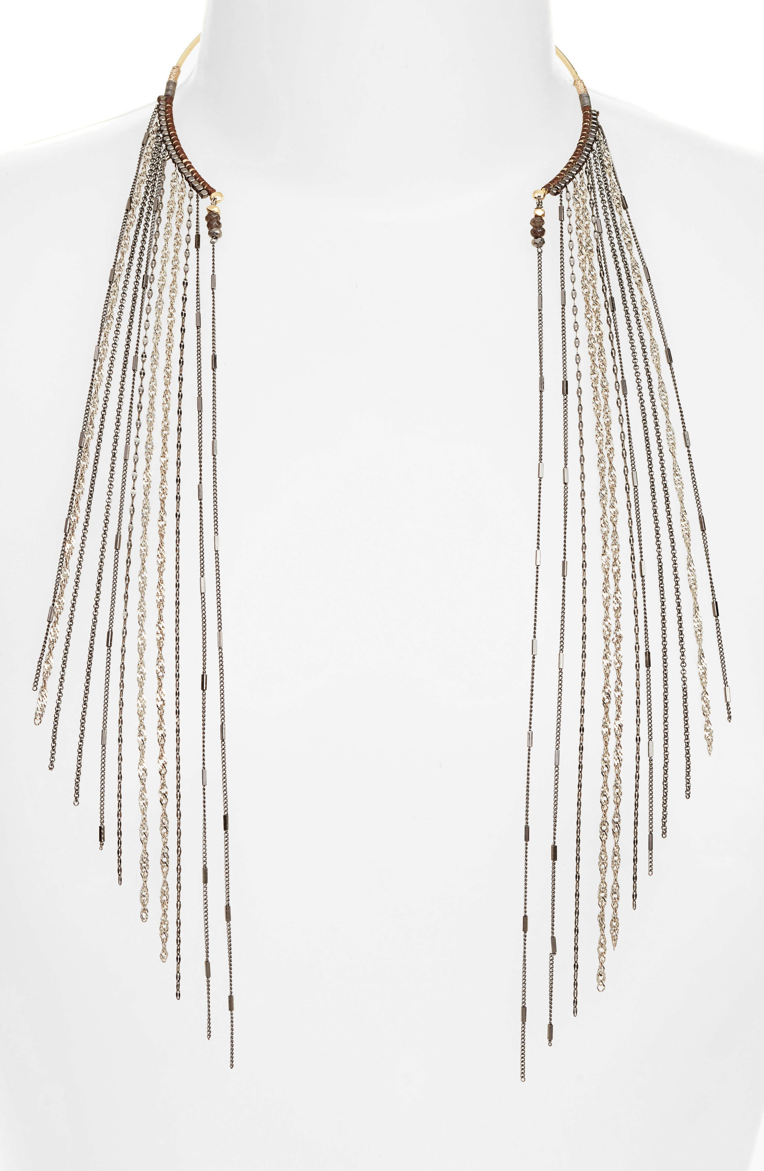 Chain Fringe Half Necklace,                             Alternate thumbnail 2, color,                             020
