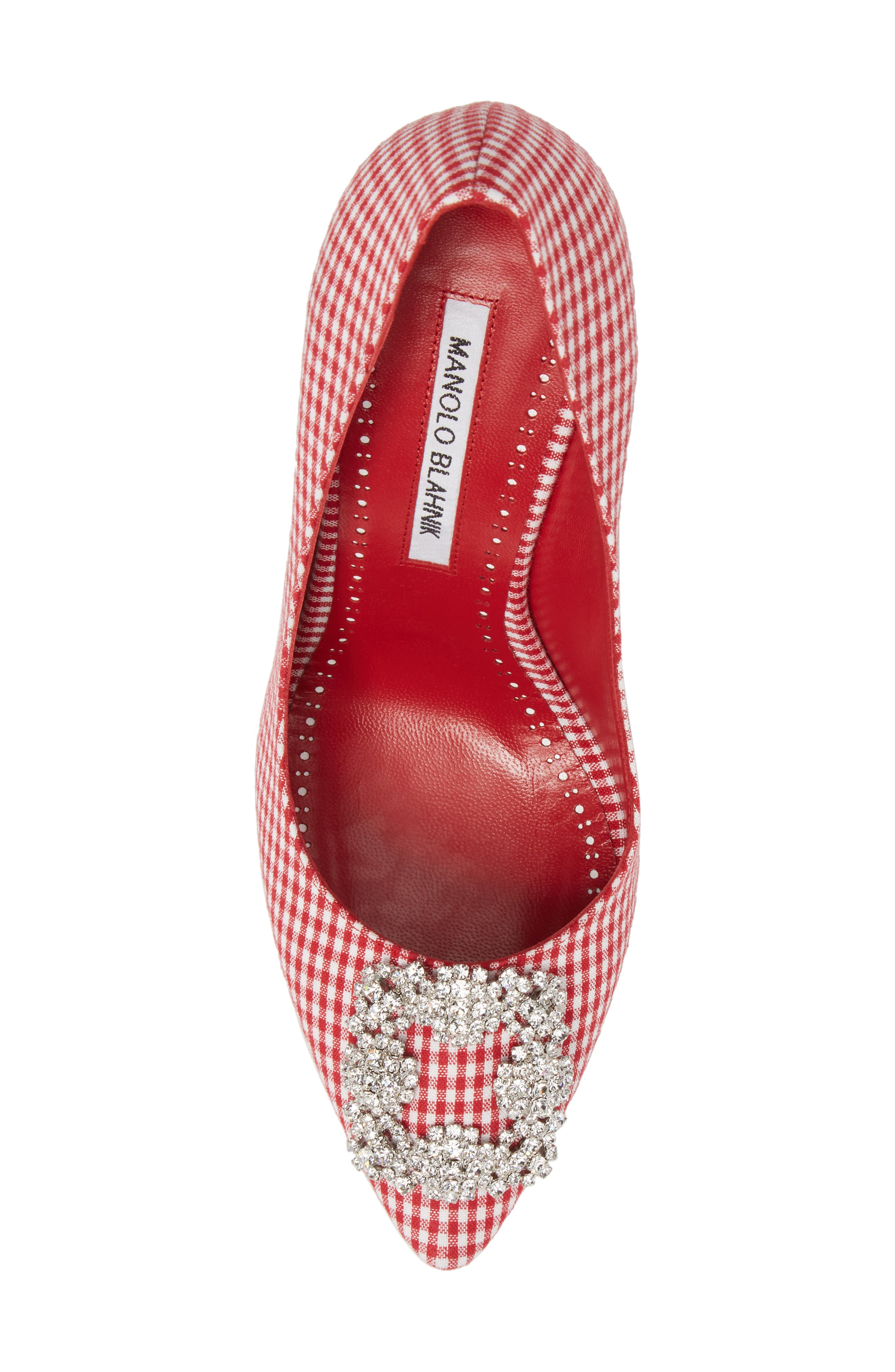 'Hangisi' Ornamented Pump,                             Alternate thumbnail 5, color,                             RED GINGHAM