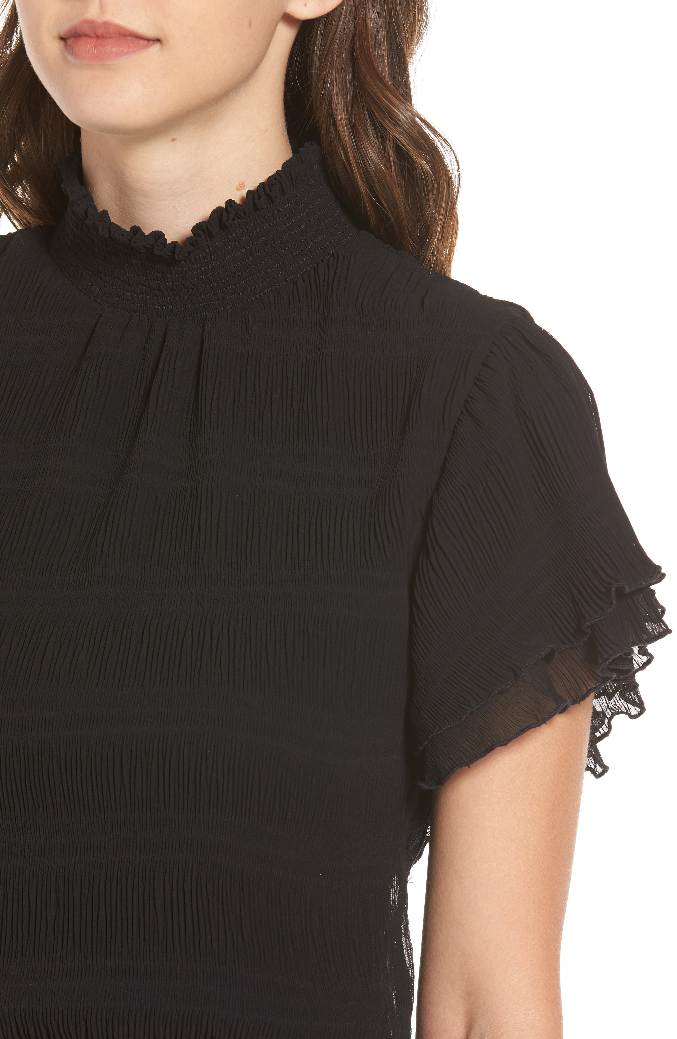 Smocked Neck Crop Top,                             Alternate thumbnail 4, color,                             001