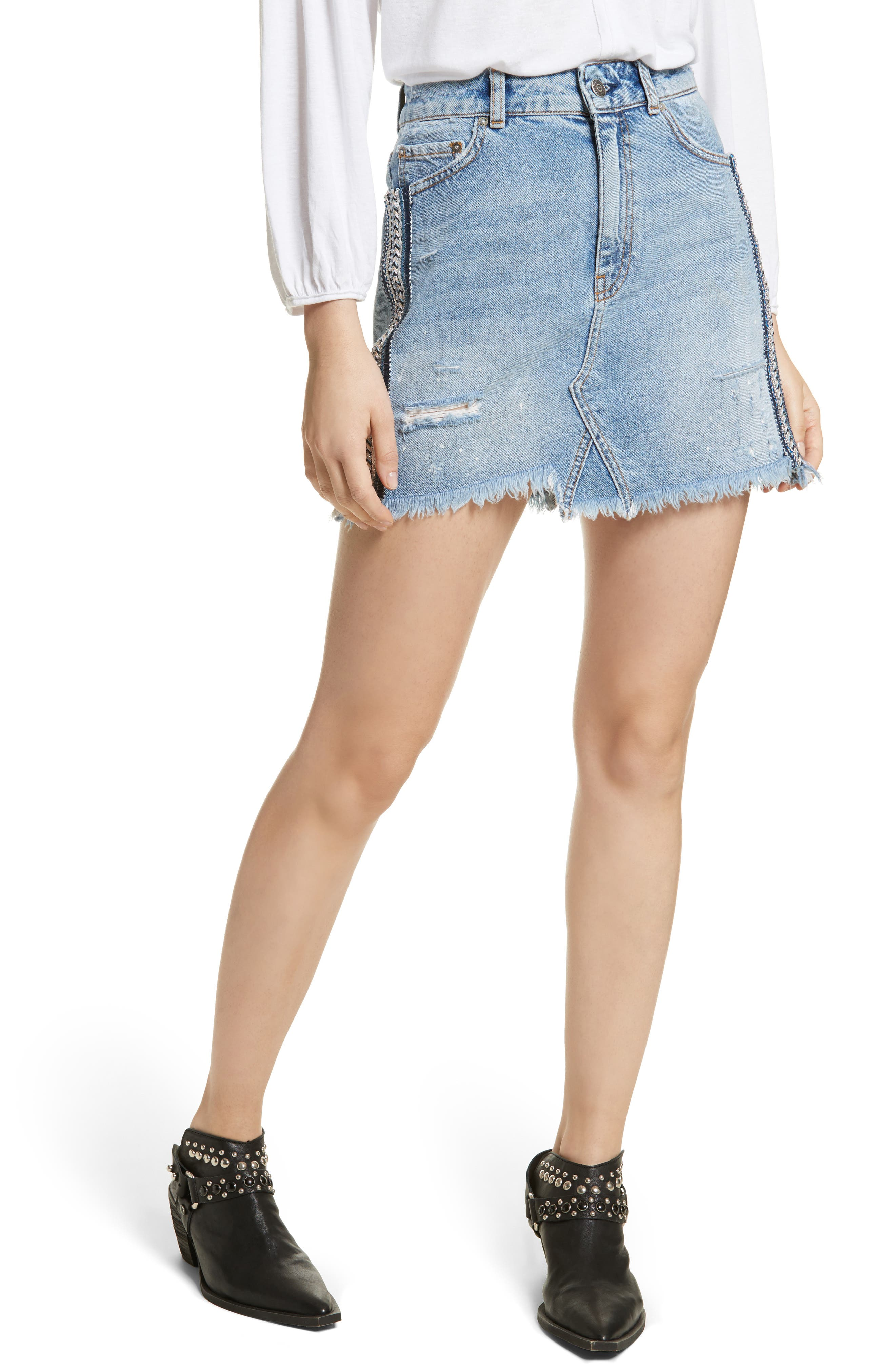 FREE PEOPLE Side Stripe Embellished Miniskirt, Main, color, 400