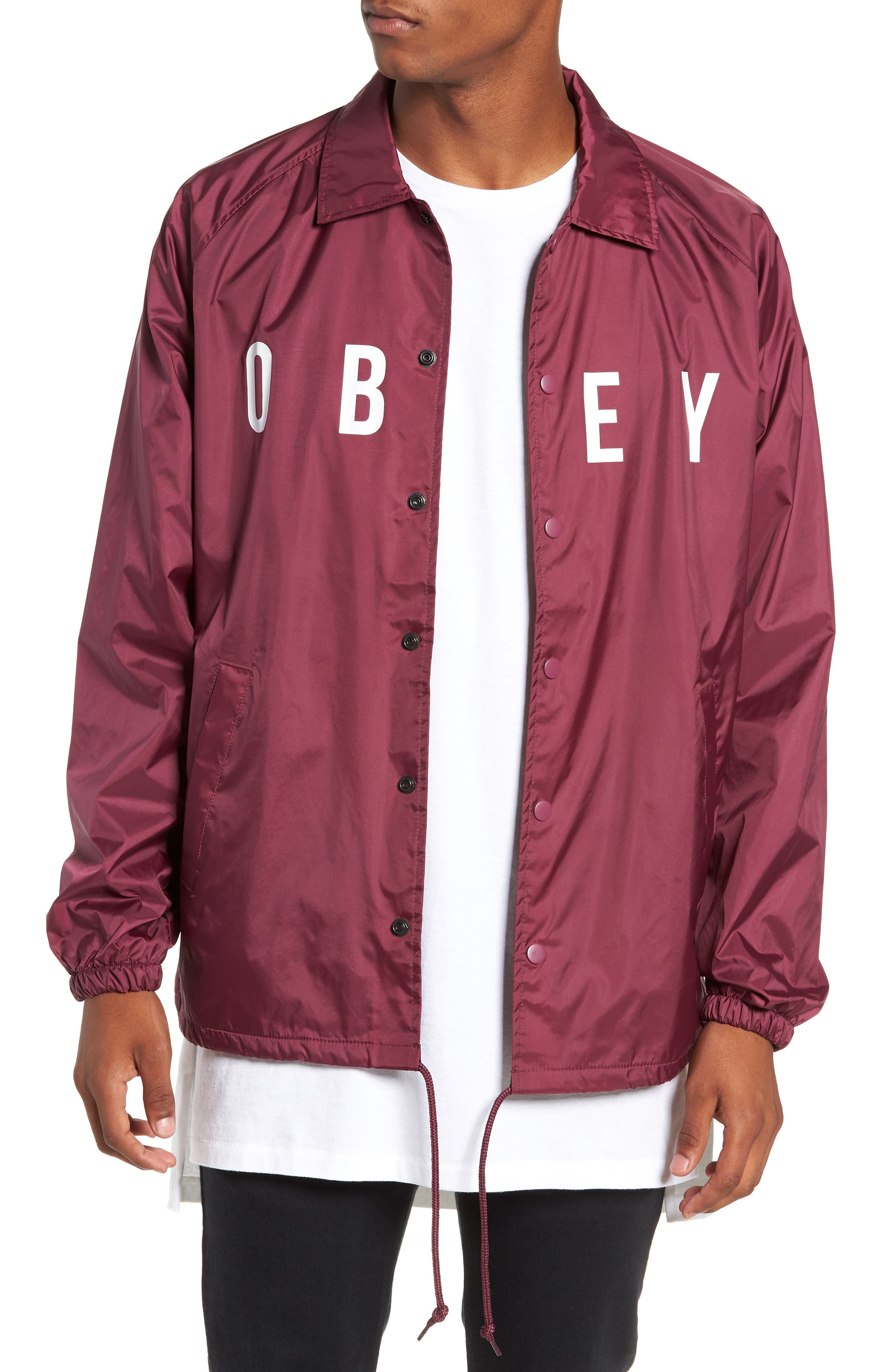 Anyway Snap Front Hooded Coach's Jacket,                             Main thumbnail 1, color,                             RASPBERRY