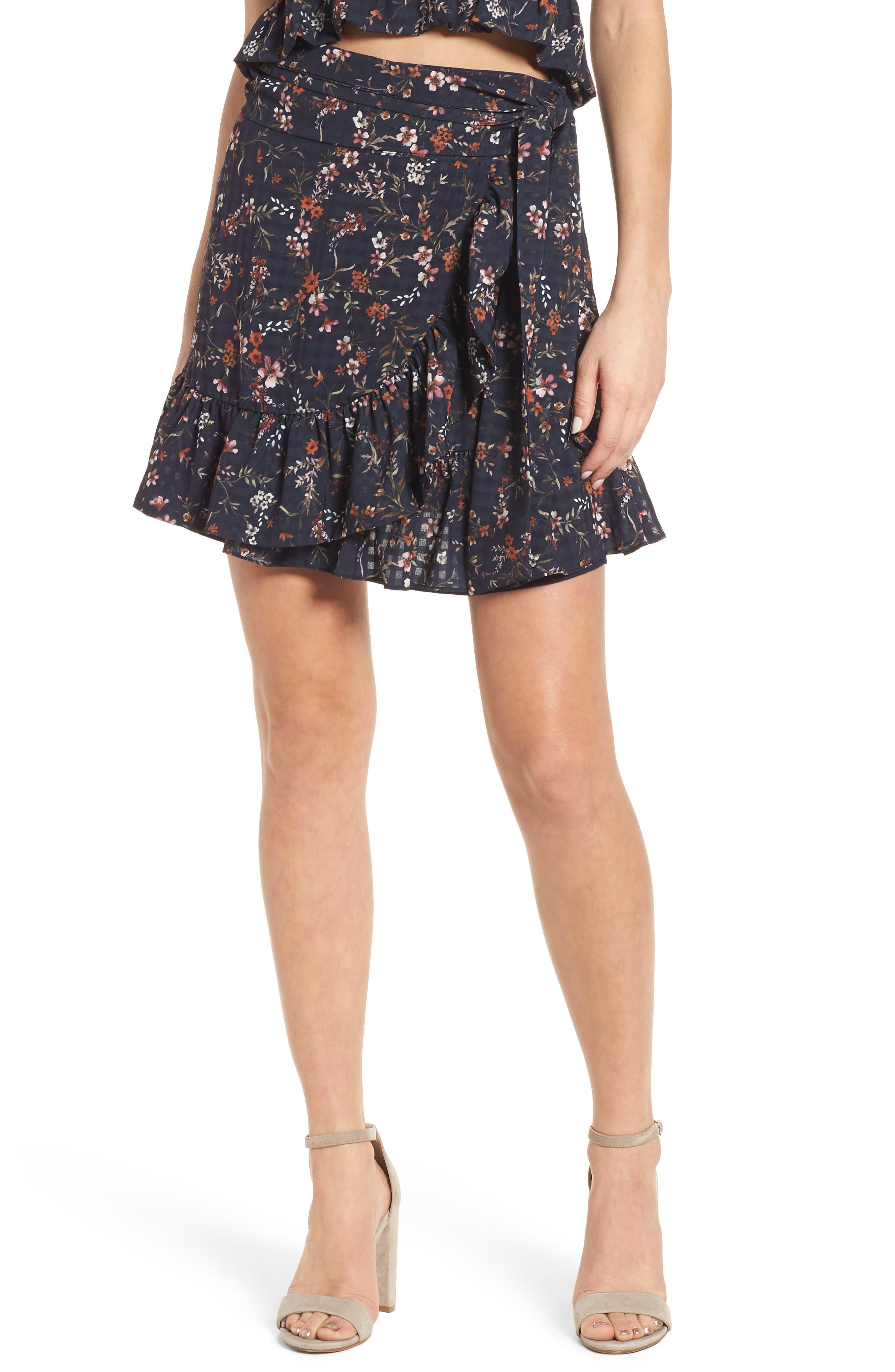 Maida Ruffle Miniskirt,                             Main thumbnail 1, color,                             001