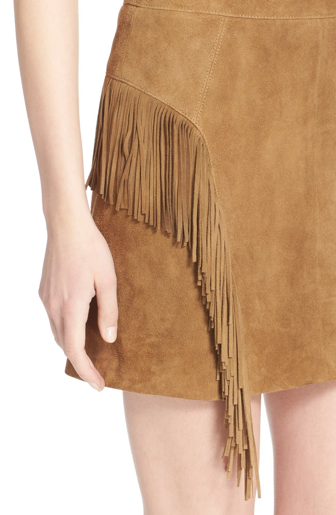 Suede Fringe Mini Skirt,                             Alternate thumbnail 6, color,                             244