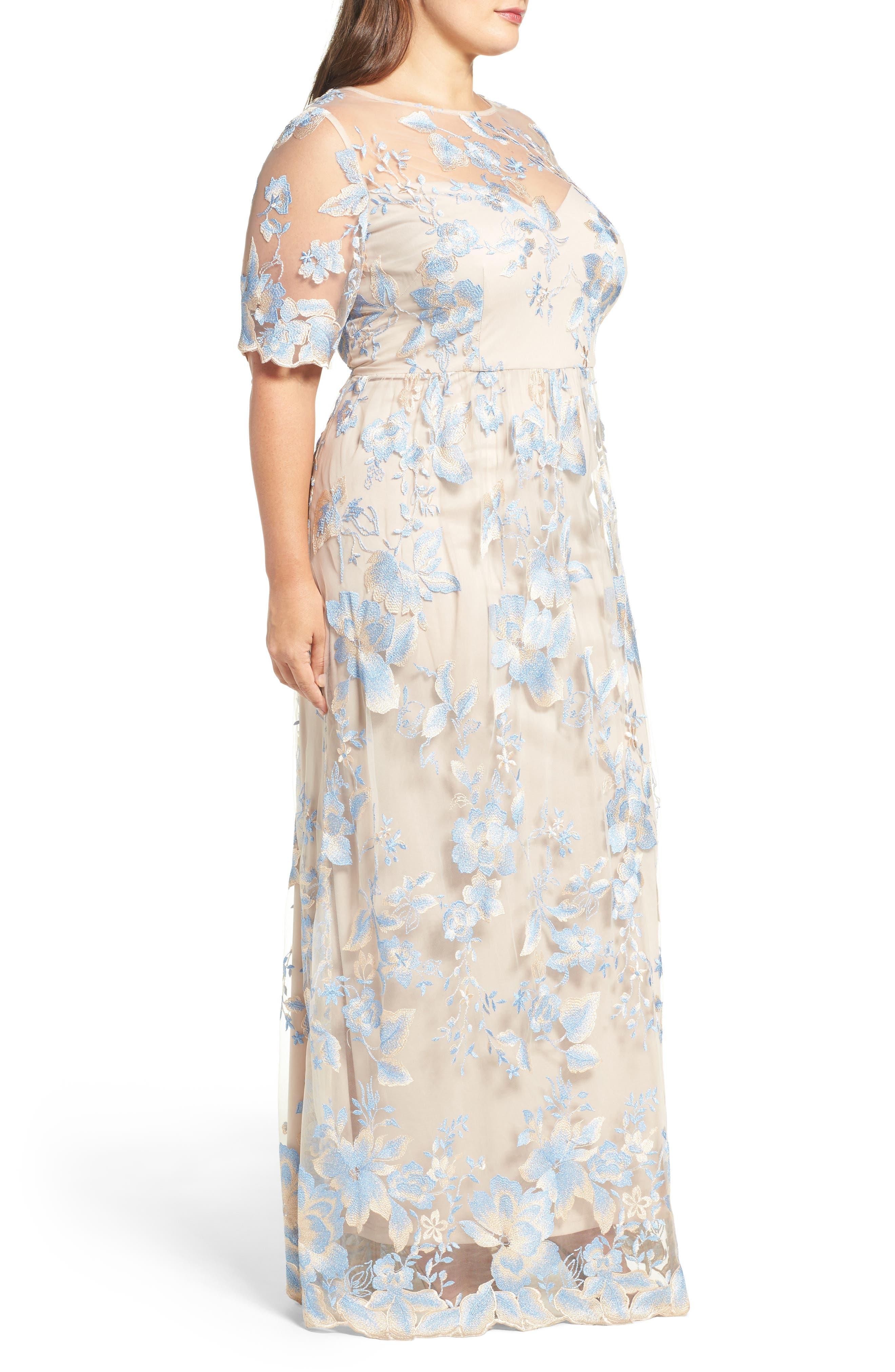 Illusion Lace Gown,                             Alternate thumbnail 4, color,                             298