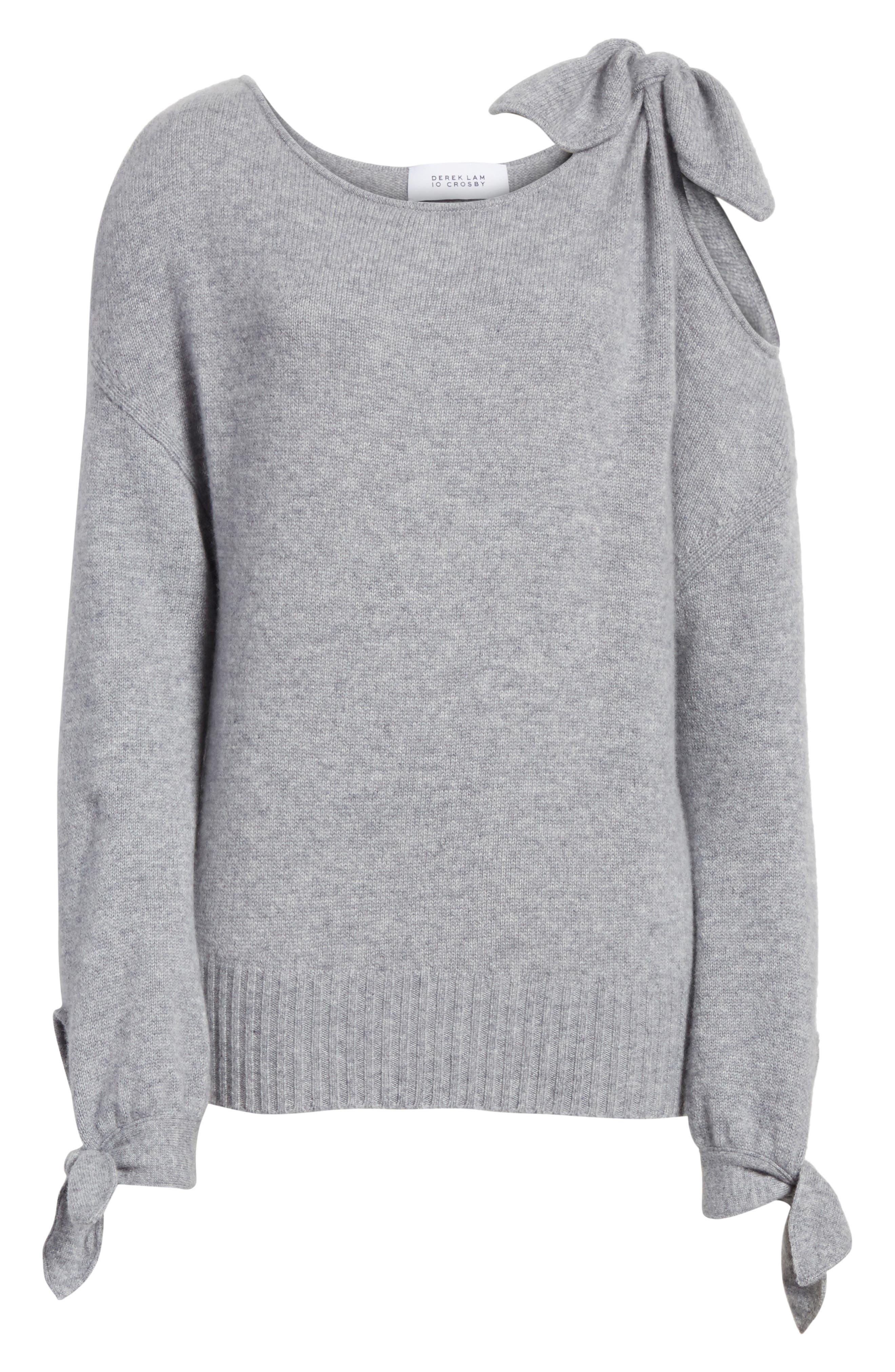 Tie Detail Cashmere Sweater,                             Alternate thumbnail 6, color,