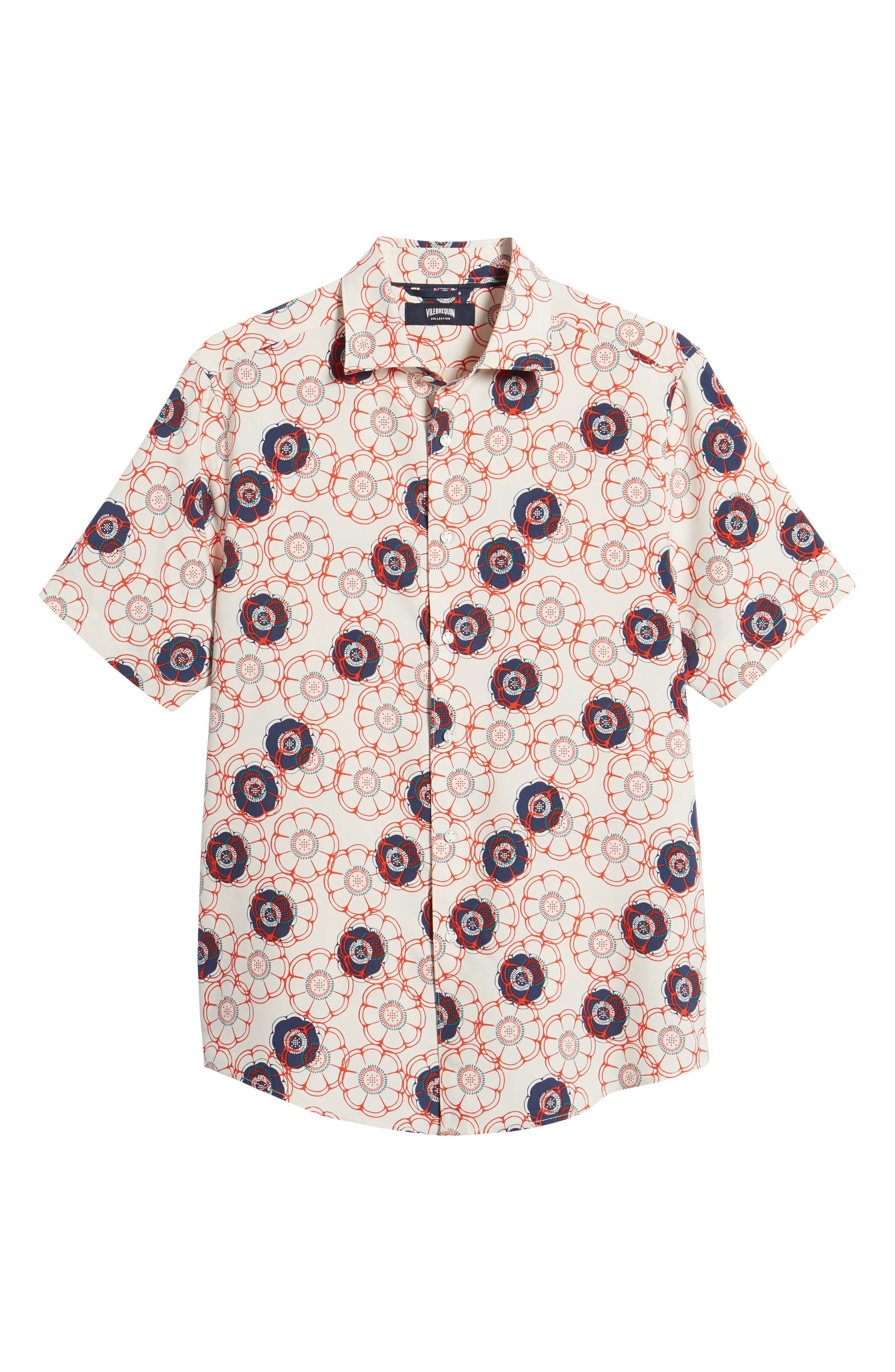 Tailor Fit Floral Print Silk Shirt,                             Alternate thumbnail 6, color,                             CANVAS/ RED CORAL