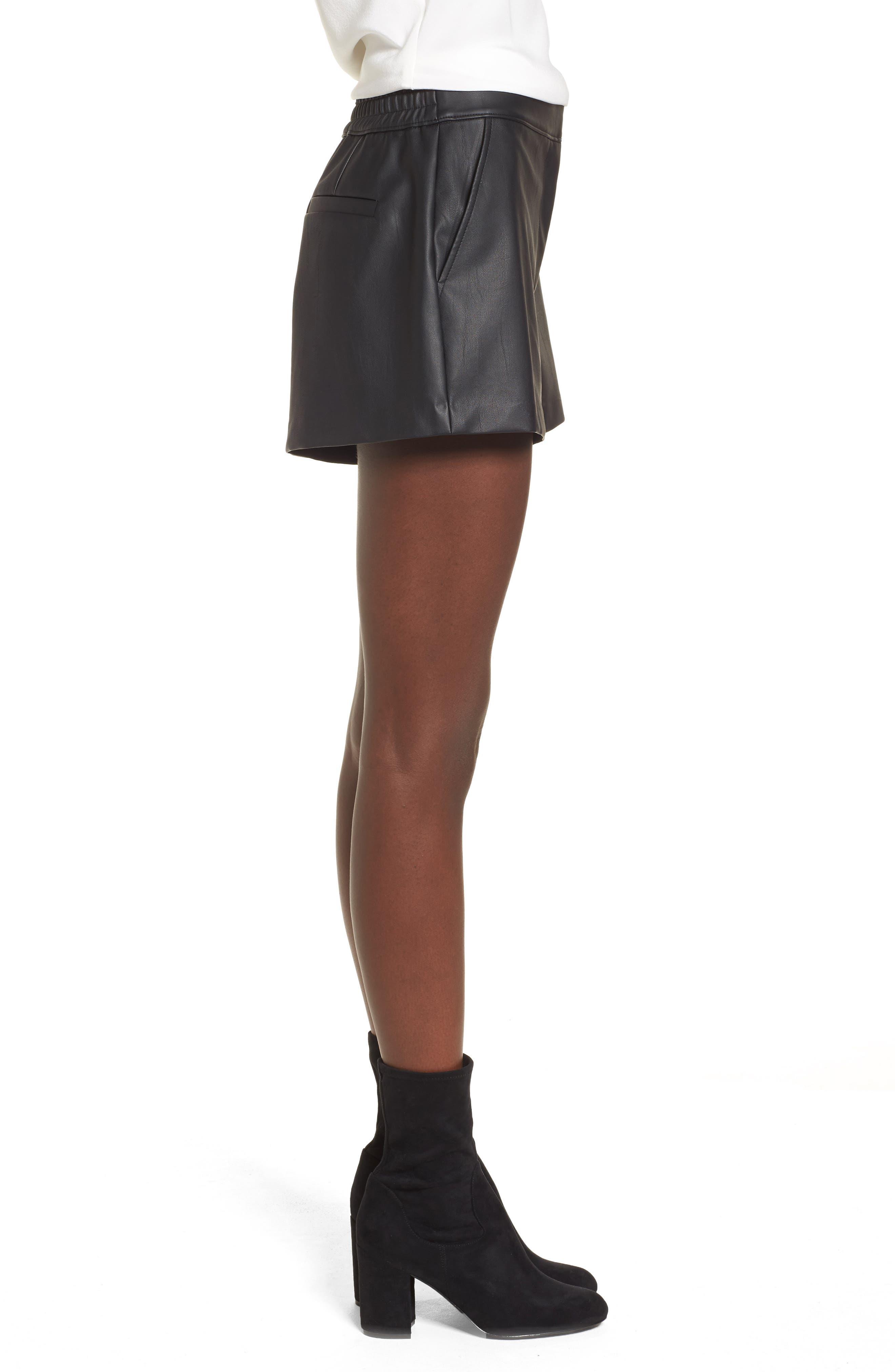 High Waist Faux Leather Shorts,                             Alternate thumbnail 3, color,