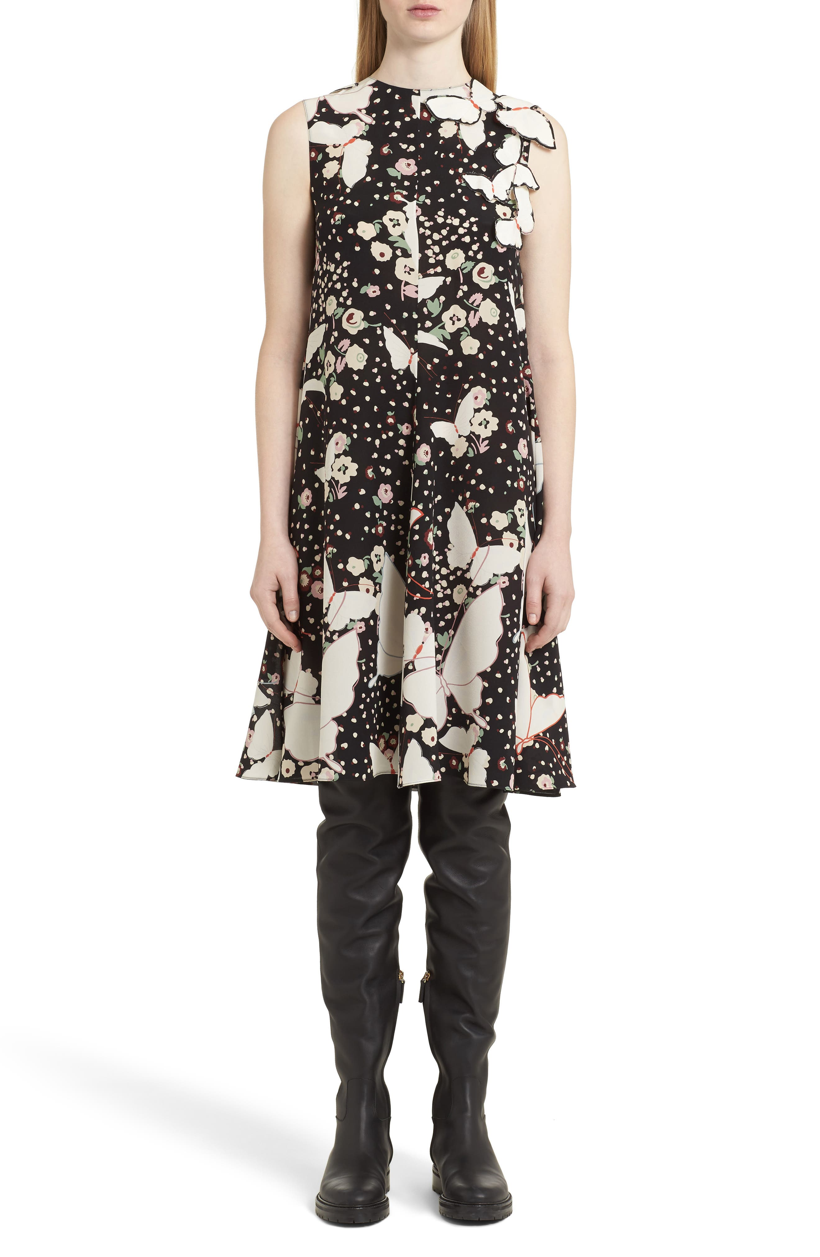 Pop Butterfly Appliqué Silk Crêpe de Chine Dress,                         Main,                         color, 001