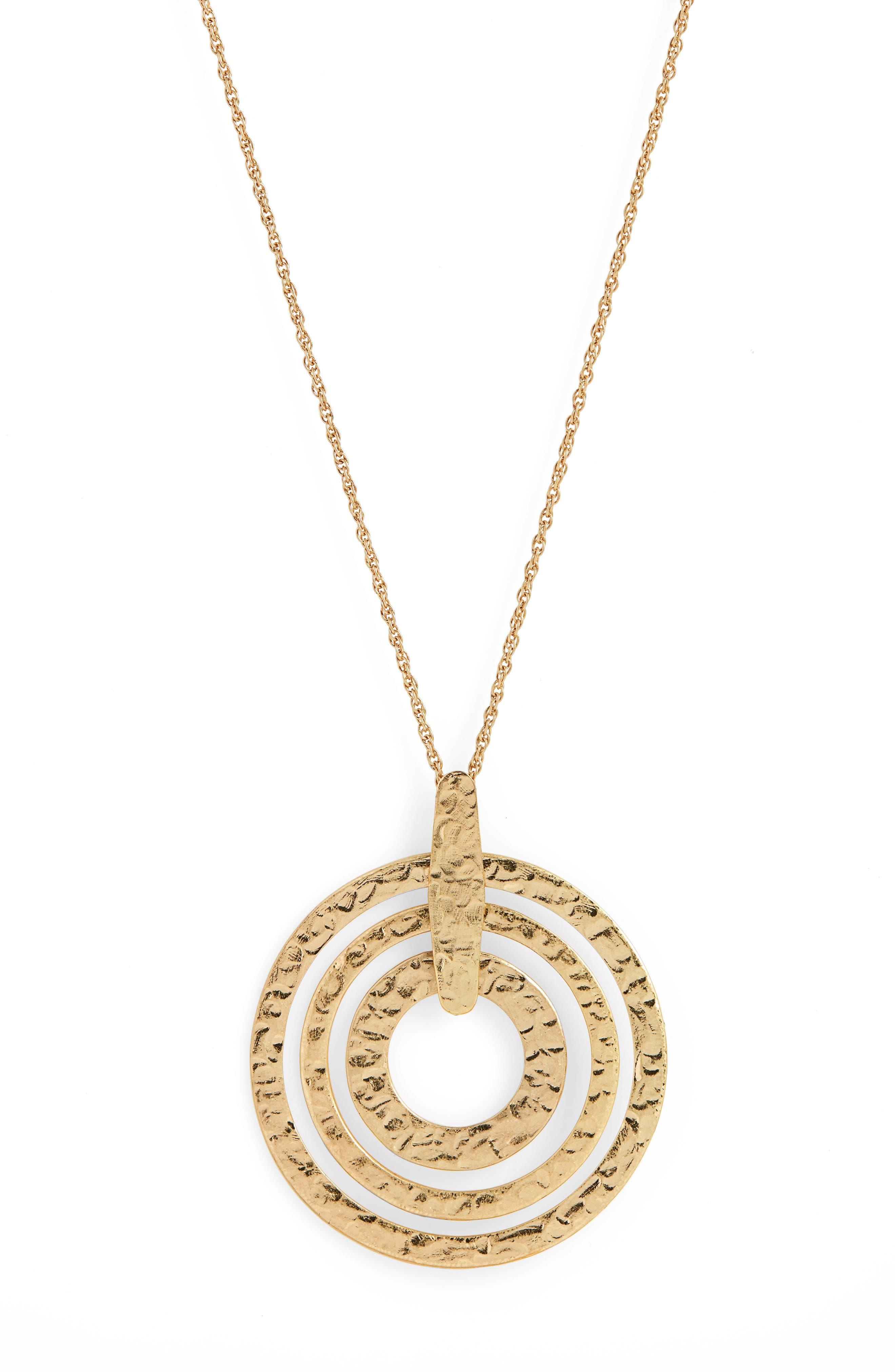 Circle Pendant Necklace,                             Alternate thumbnail 2, color,                             GOLD