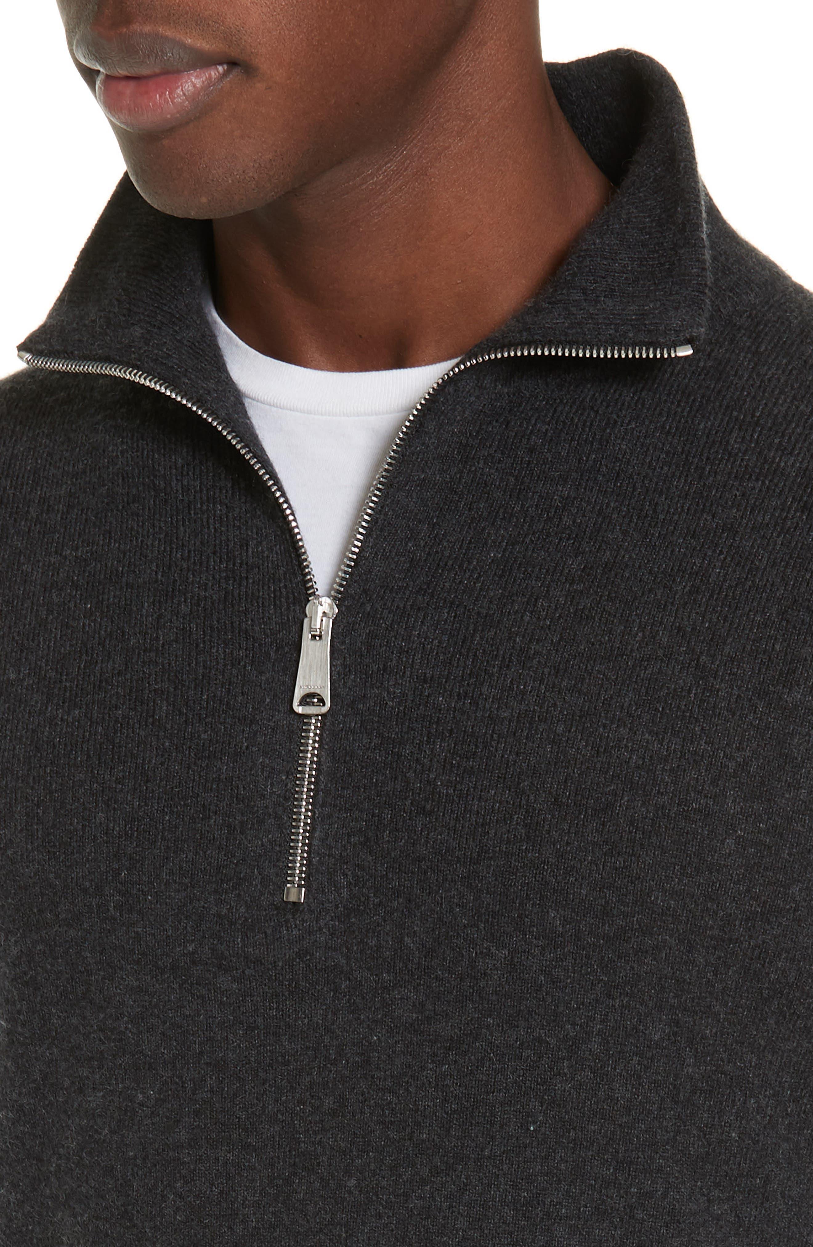 Hendon Quarter Zip Cashmere Sweater,                             Alternate thumbnail 4, color,                             CHARCOAL MELANGE