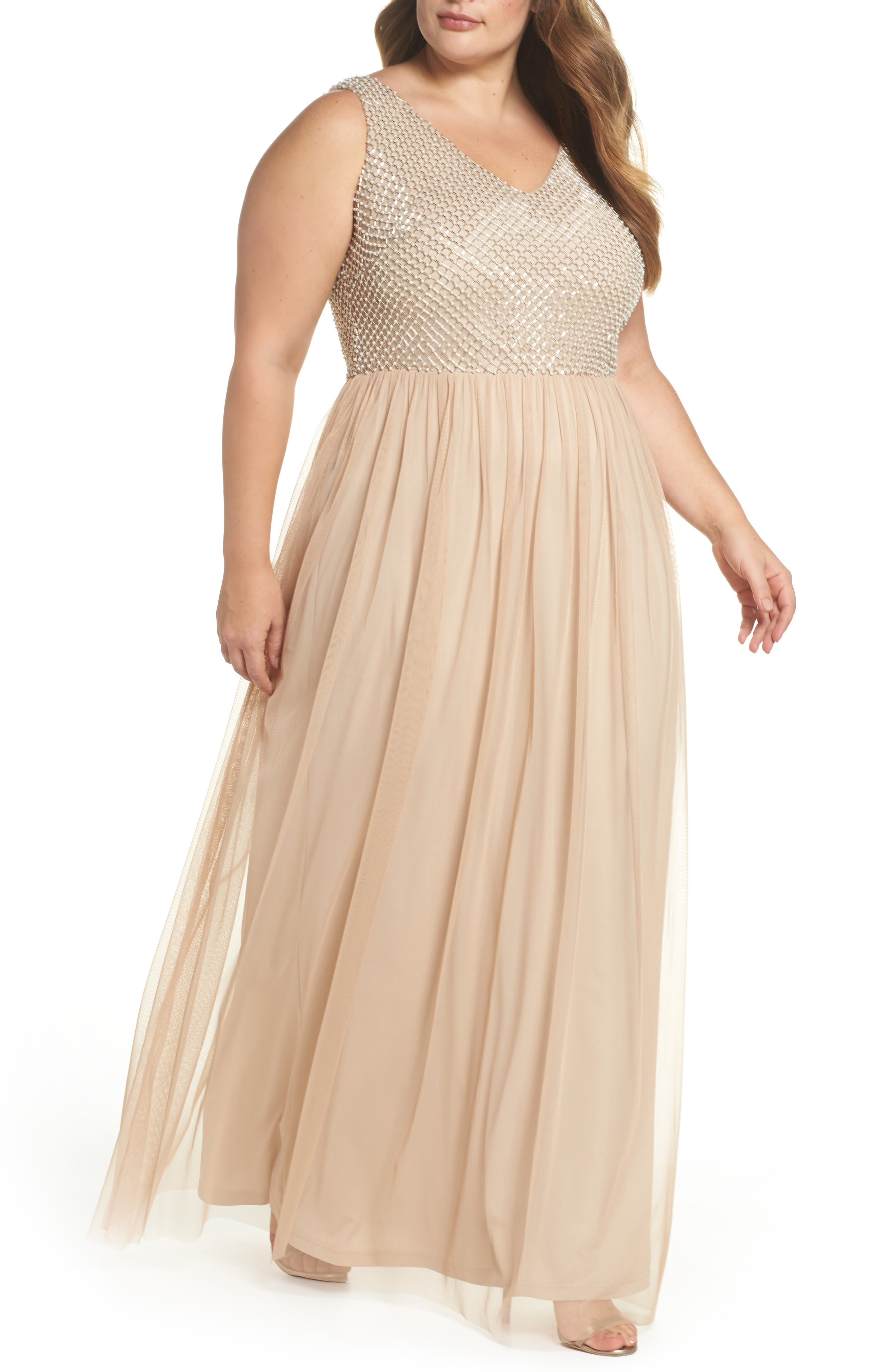 Beaded & Tulle Gown,                             Main thumbnail 1, color,                             CHAMPAGNE
