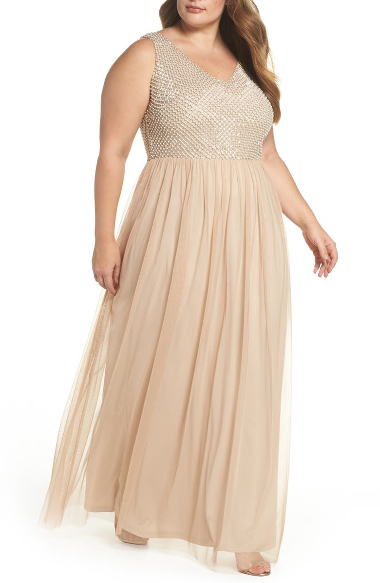 Adrianna Papell Beaded & Tulle Gown (Plus Size) | Nordstrom
