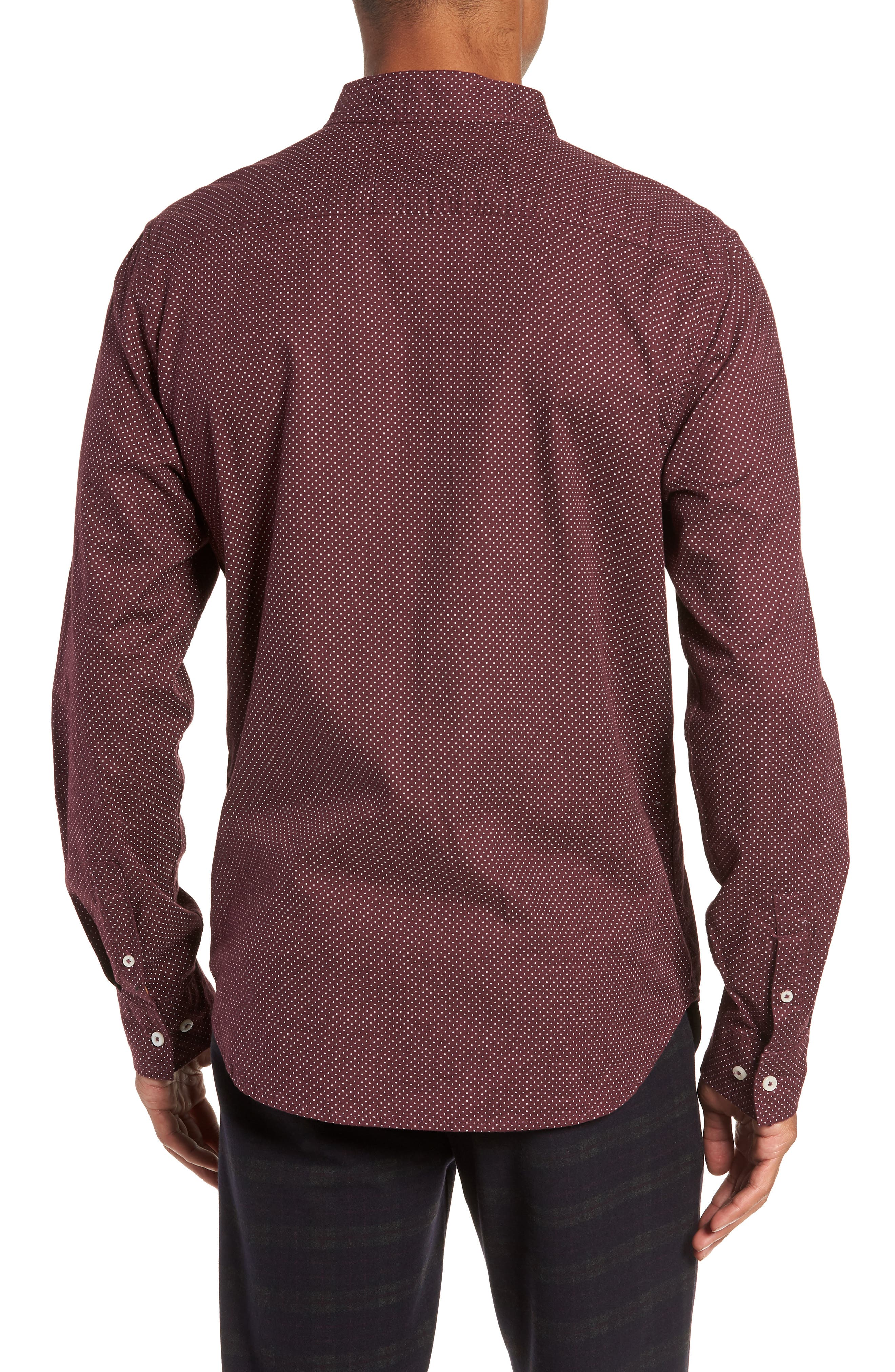 Earnest Regular Fit Dotted Sport Shirt,                             Alternate thumbnail 3, color,                             BURGUNDY