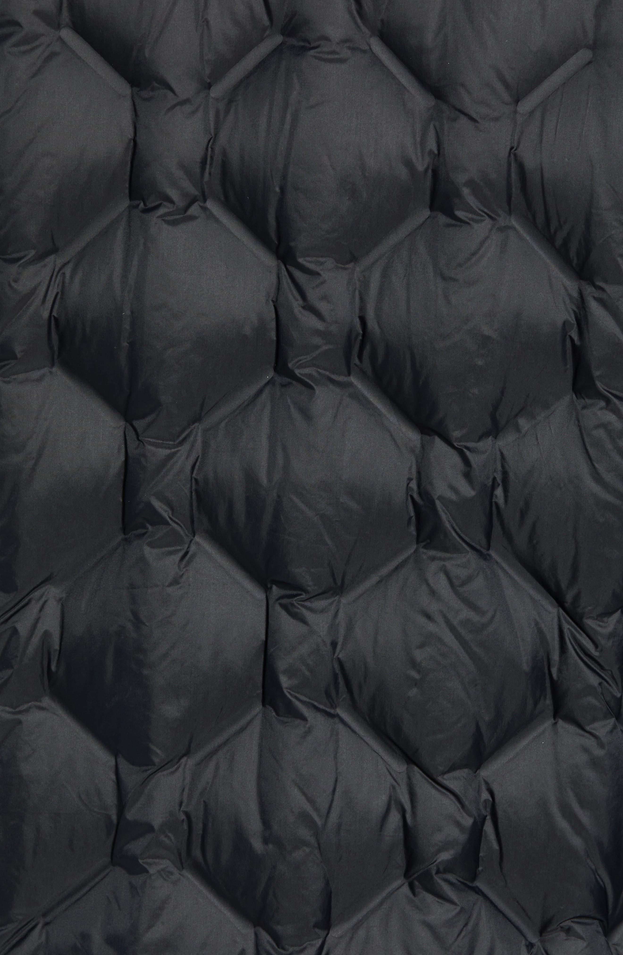 Geo Quilt Down Jacket,                             Alternate thumbnail 7, color,                             BLACK