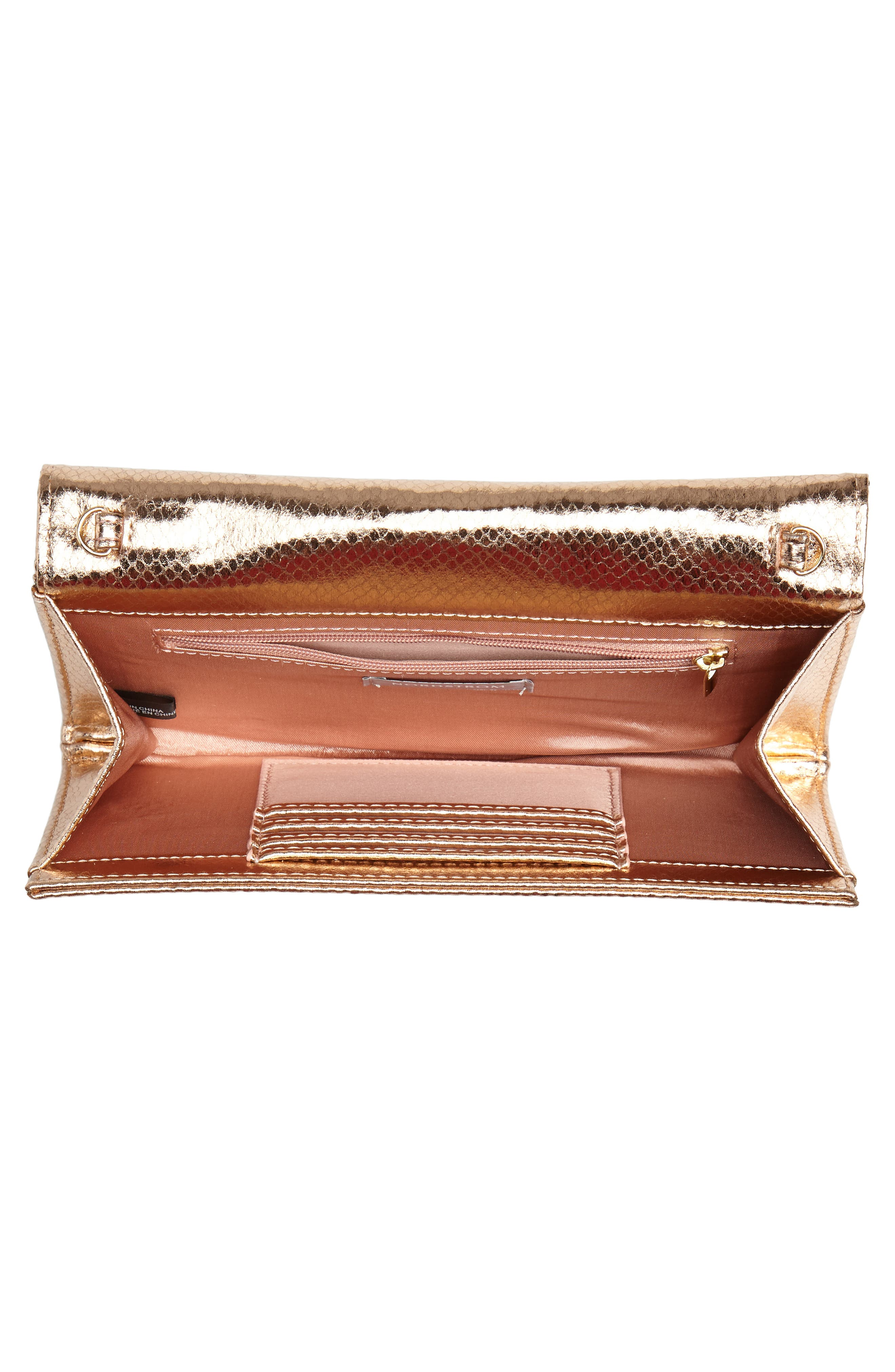 Metallic Snake-Embossed Faux Leather Bar Clutch,                             Alternate thumbnail 4, color,                             ROSE GOLD