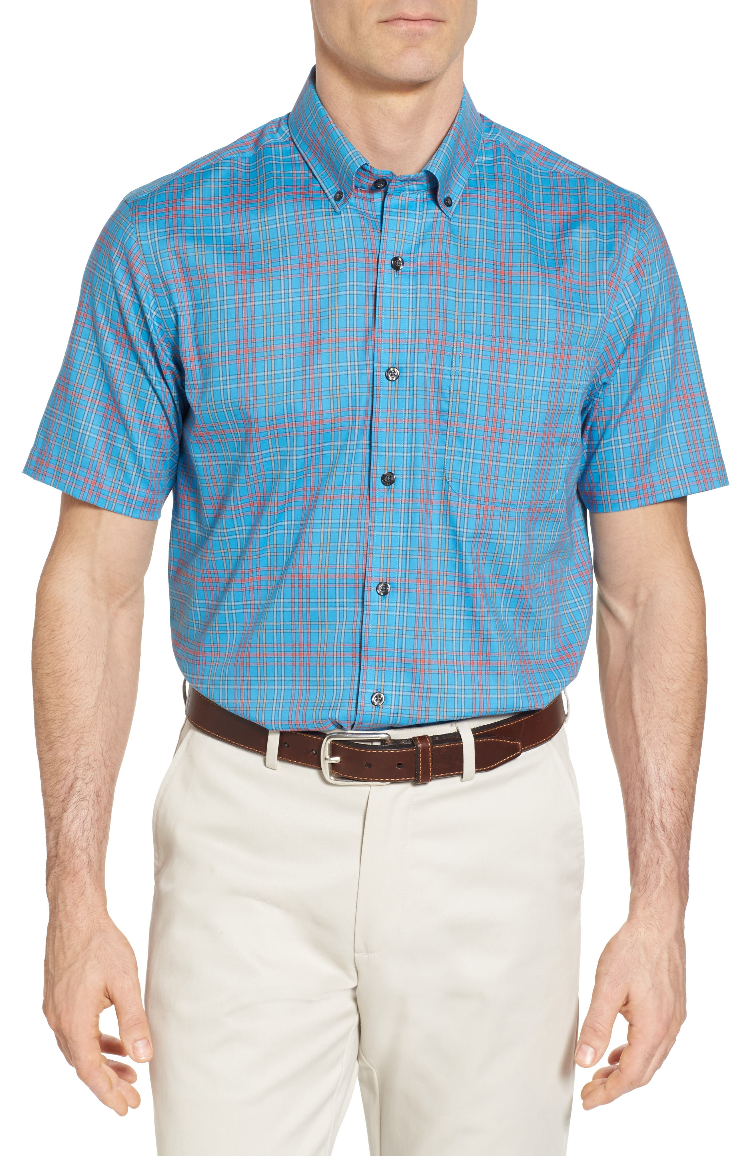 Isaac Classic Fit Easy Care Check Sport Shirt,                             Main thumbnail 1, color,                             POOLSIDE
