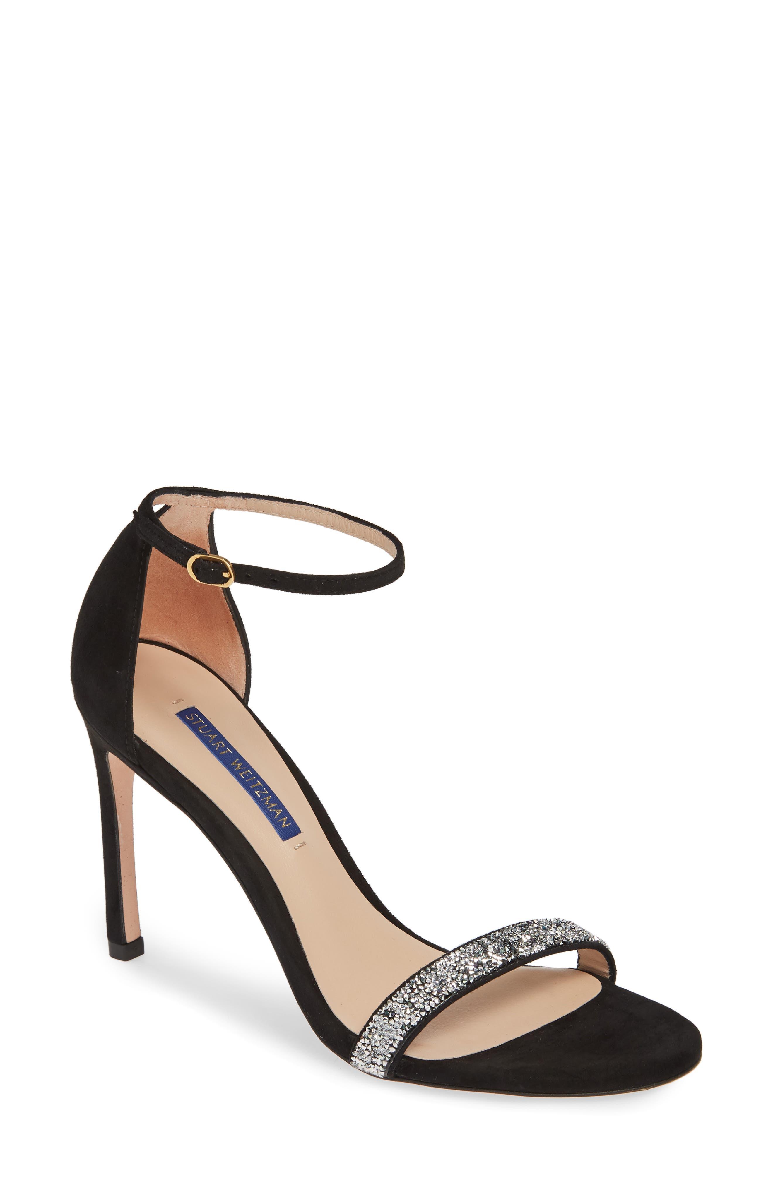 STUART WEITZMAN,                             Nudistsong Ankle Strap Sandal,                             Main thumbnail 1, color,                             BLACK