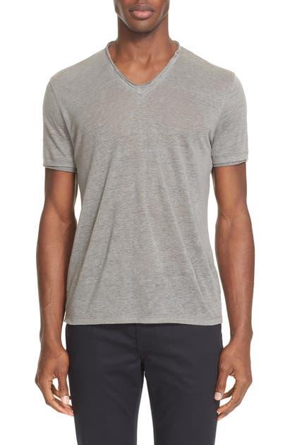John Varvatos T-shirts V-NECK LINEN T-SHIRT