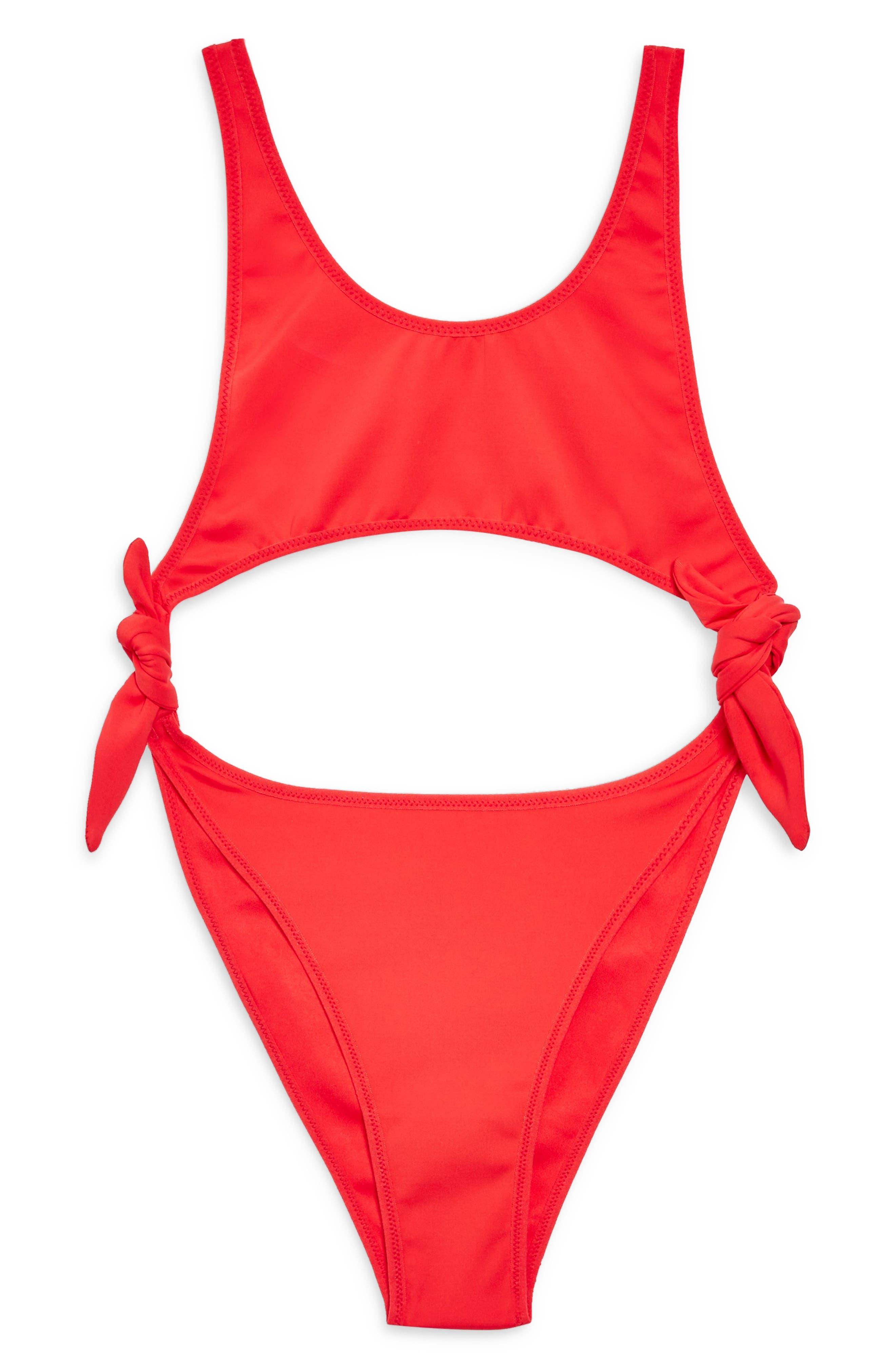 TOPSHOP Split Tie Swimsuit, Main, color, 600