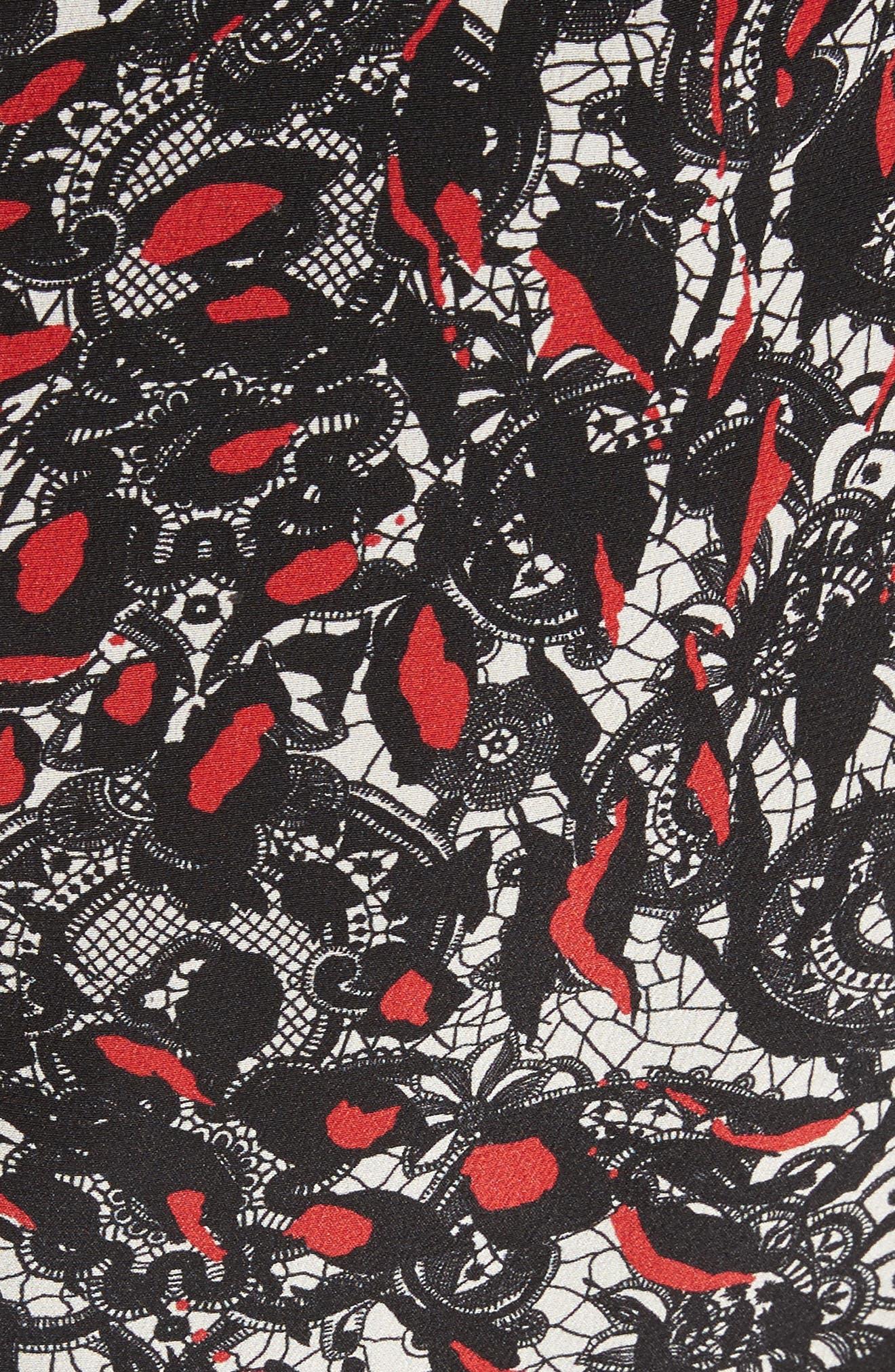Grace Print Off the Shoulder Silk Dress,                             Alternate thumbnail 9, color,