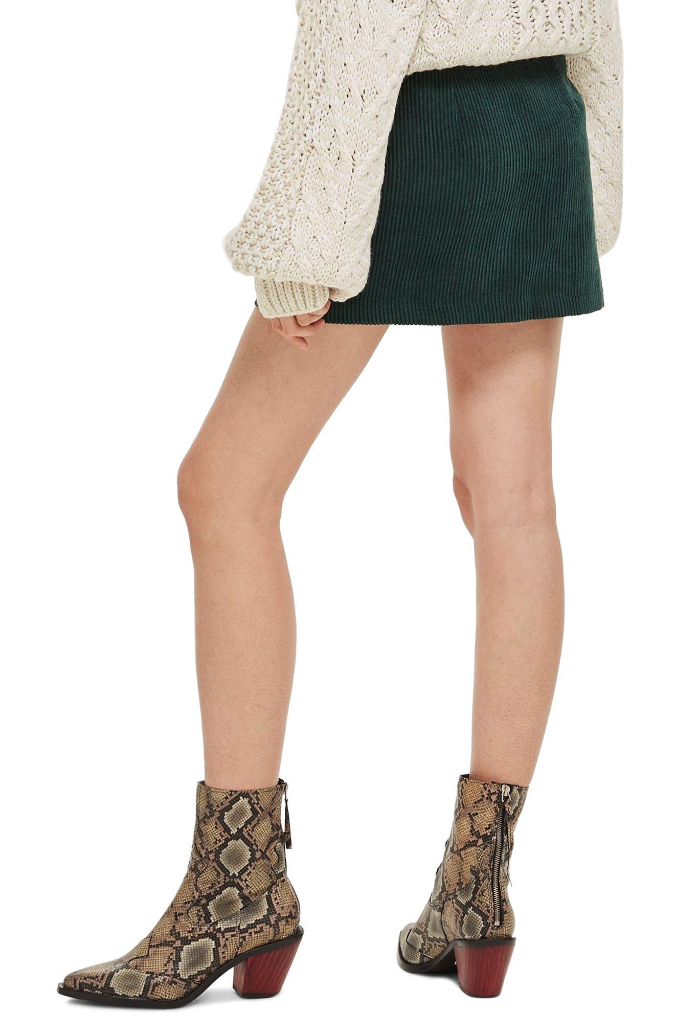 Corduroy Miniskirt,                             Alternate thumbnail 2, color,                             GREEN