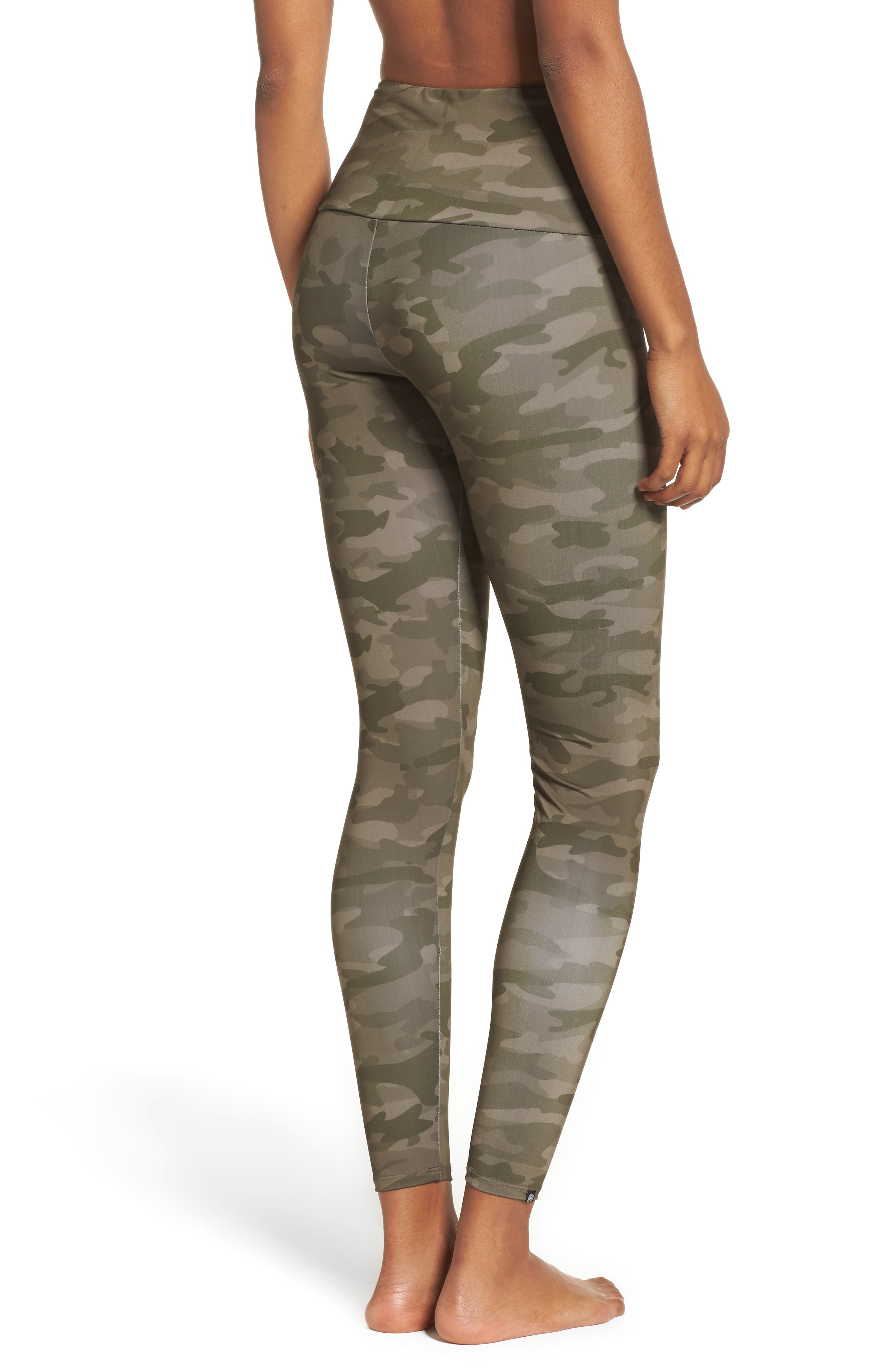 High Waist Print Leggings,                             Alternate thumbnail 2, color,                             MOSS CAMO