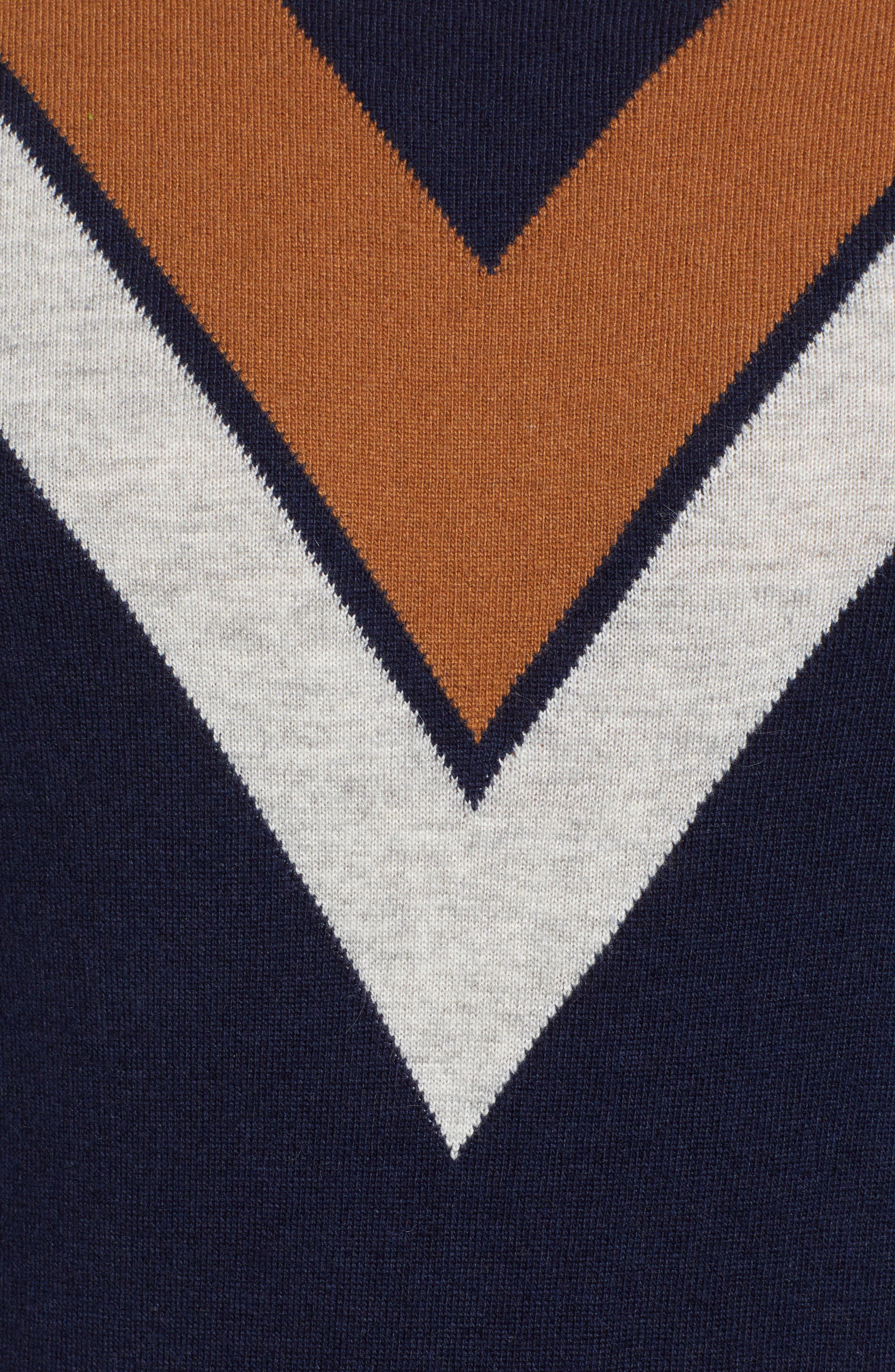 Minton V Crewneck Sweater,                             Alternate thumbnail 5, color,                             DARK NAVY/ LHN/ BURNT SUGAR