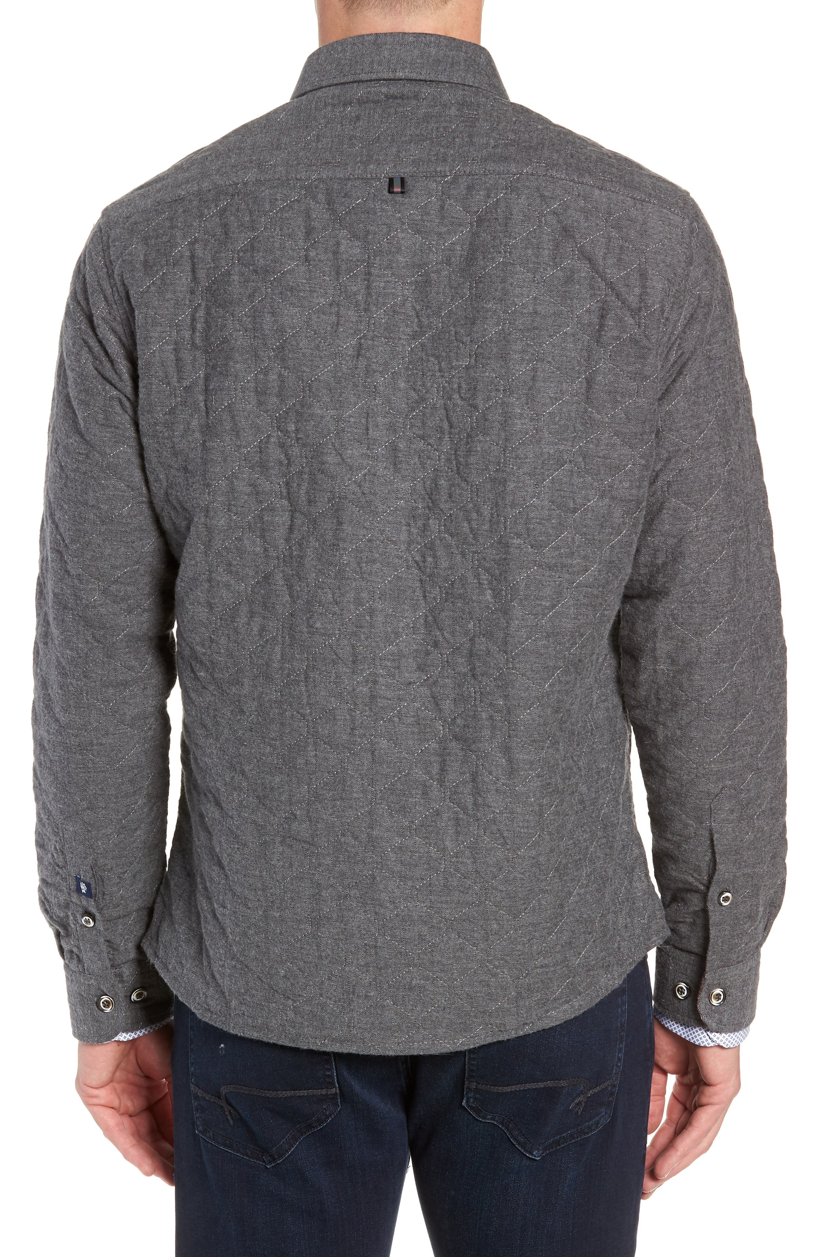 Trim Fit Quilted Shirt Jacket,                             Alternate thumbnail 3, color,                             CHARCOAL