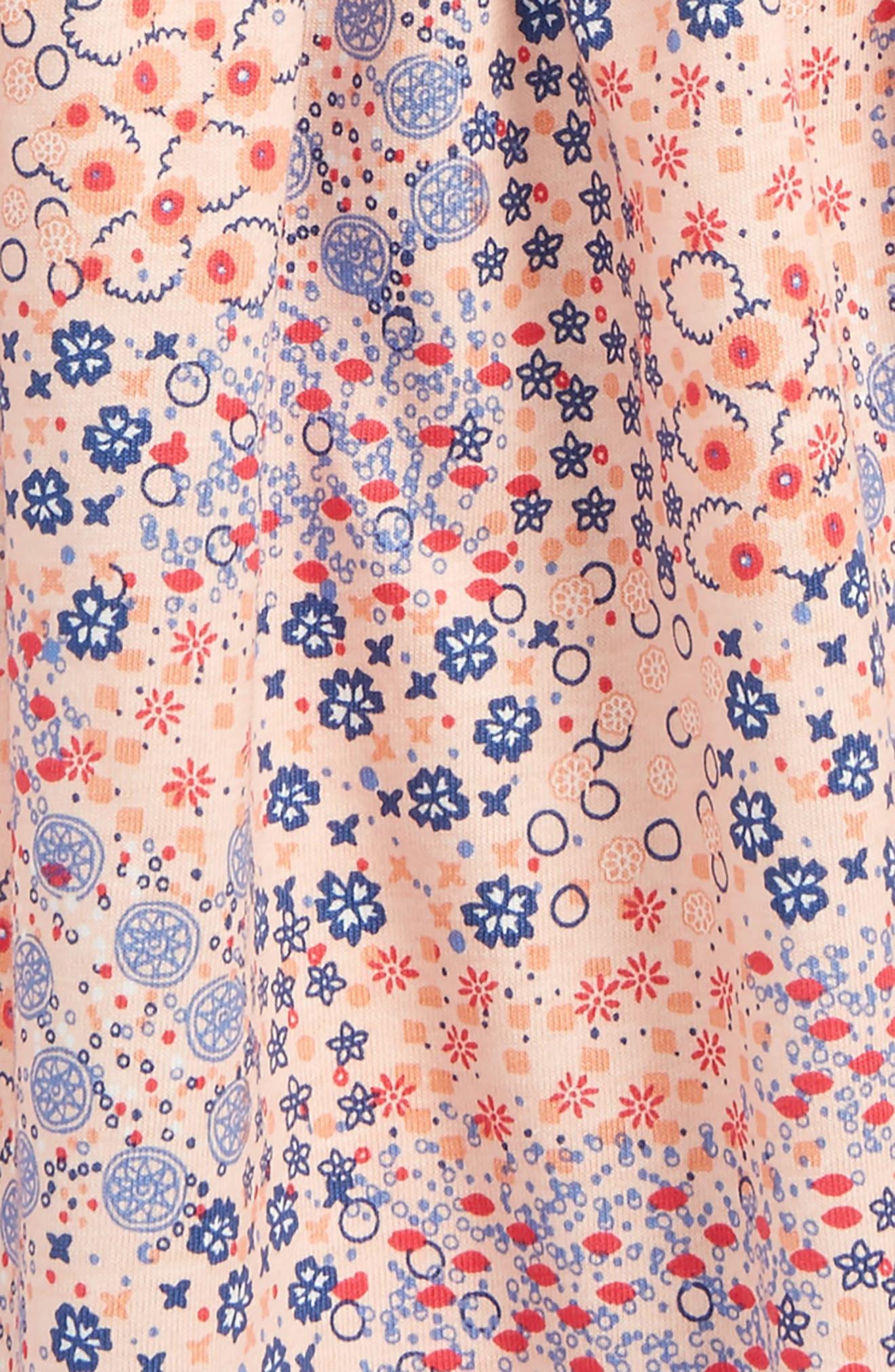TEA COLLECTION,                             Flower Print Wrap Neck Knit Dress,                             Alternate thumbnail 2, color,                             691