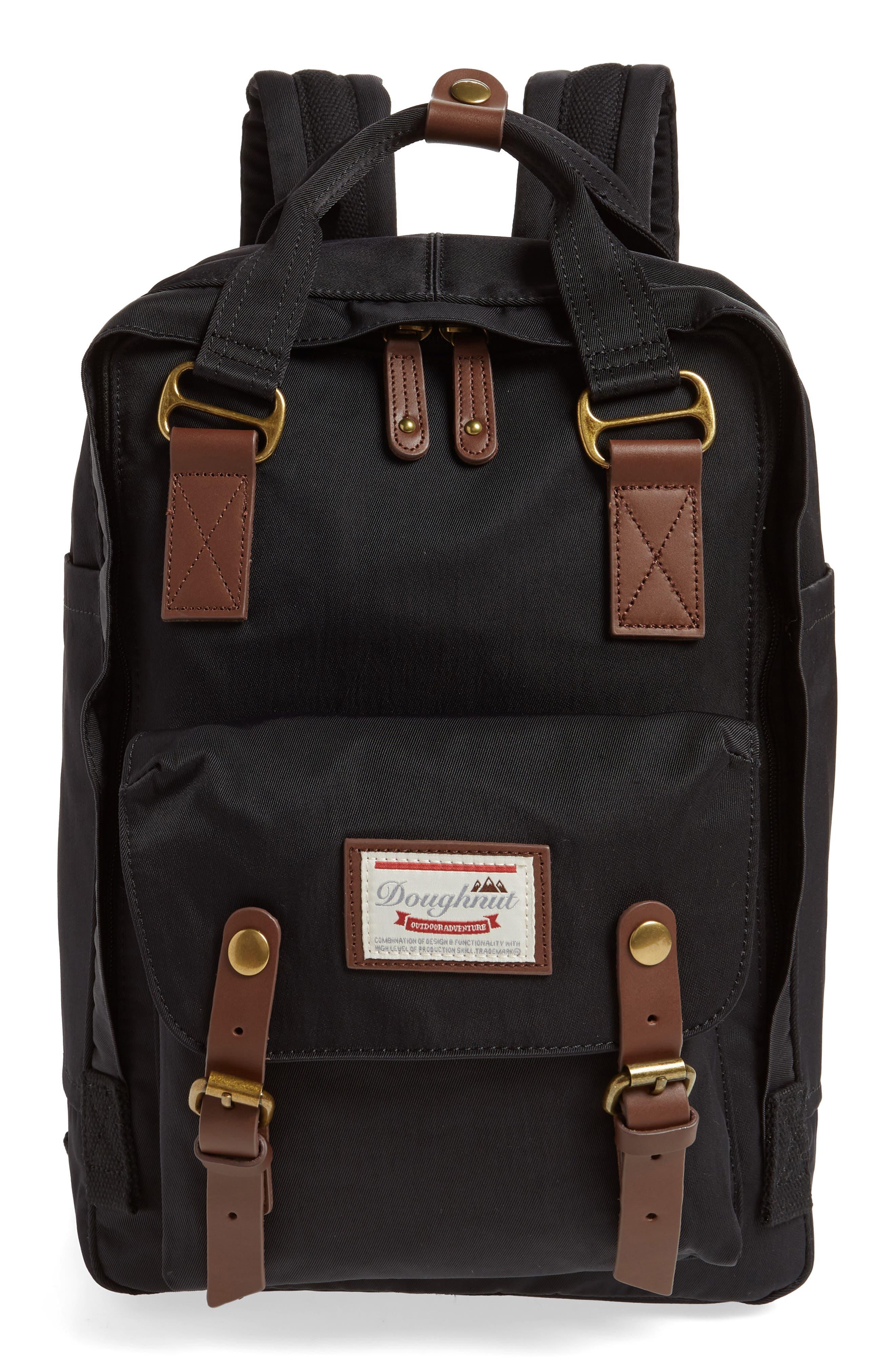 Macaroon Water Resistant Backpack,                         Main,                         color, BLACK