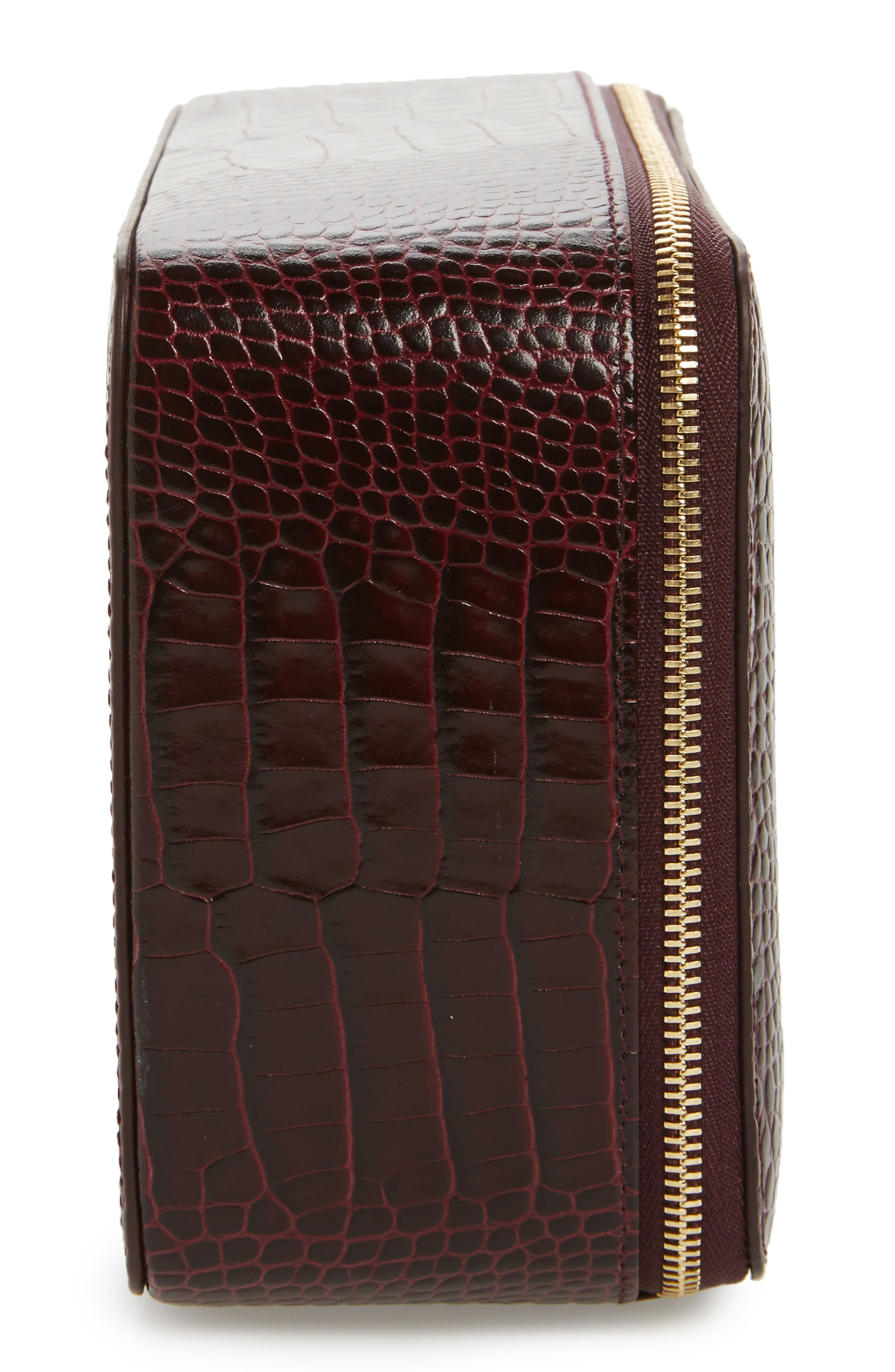 Mara Square Croc Embossed Leather Travel Case,                             Alternate thumbnail 4, color,                             930