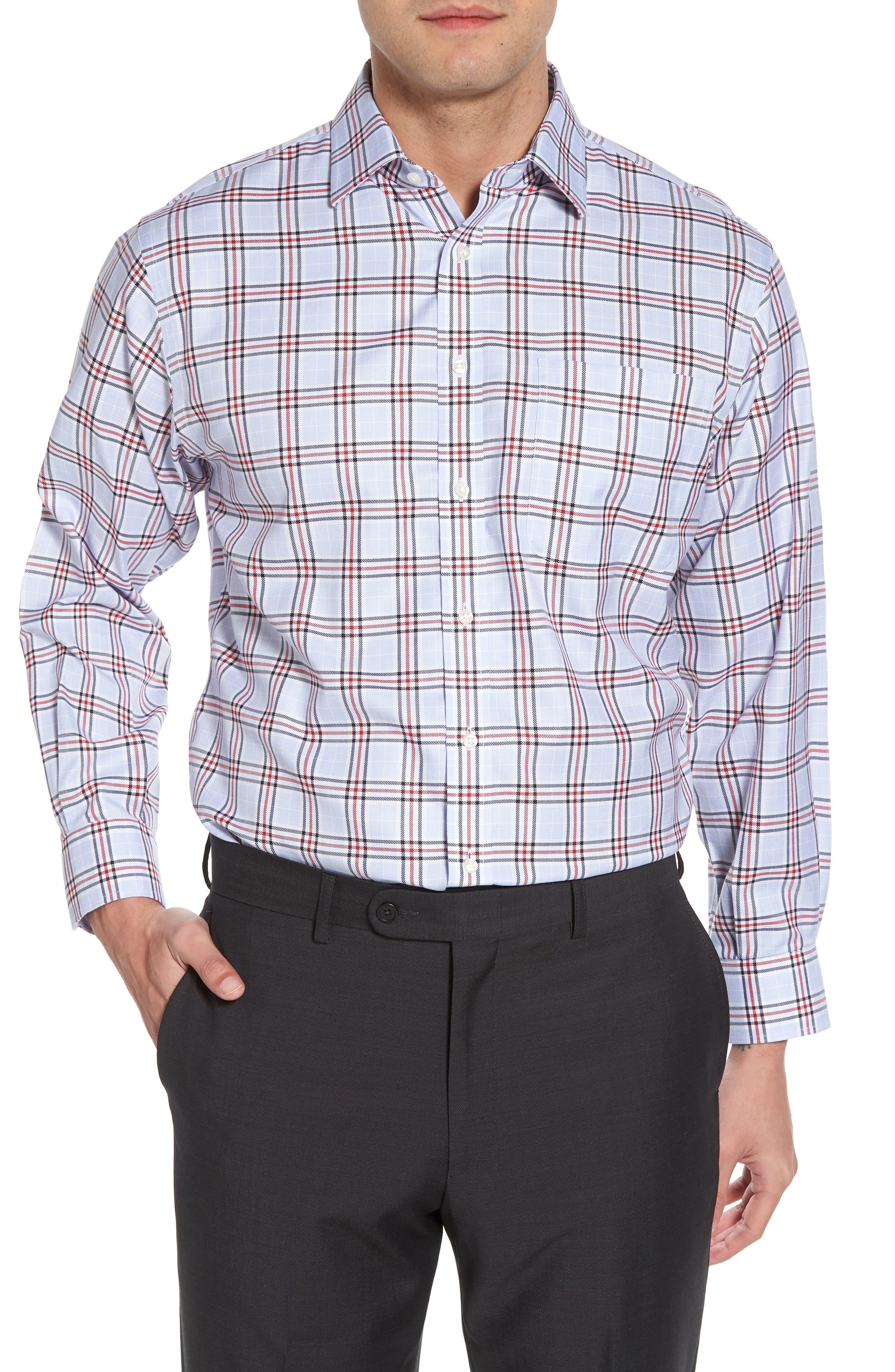 Smartcare<sup>™</sup> Classic Fit Plaid Dress Shirt,                             Main thumbnail 1, color,                             601