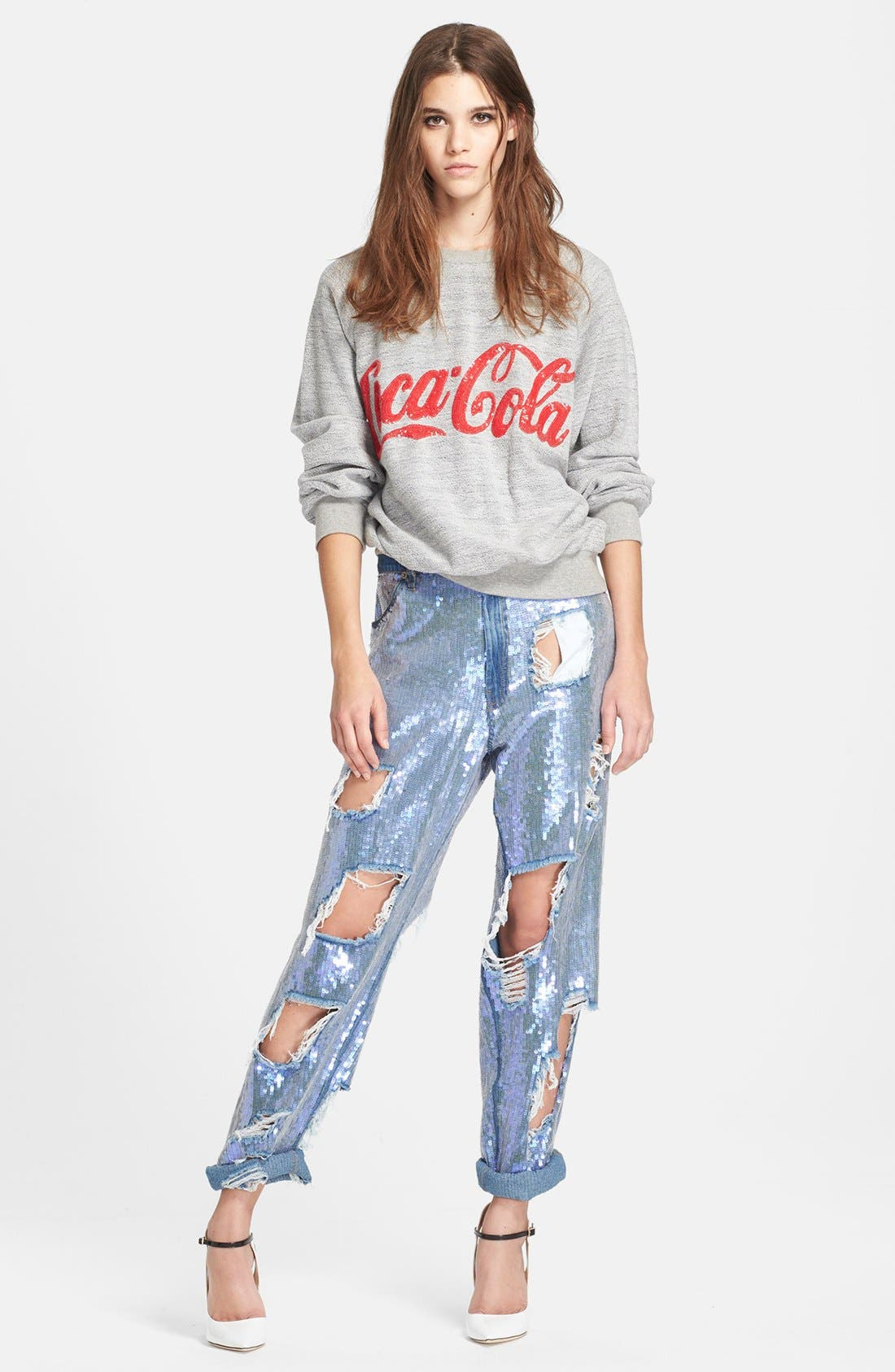 ASHISH,                             Destroyed Sequin Jeans,                             Alternate thumbnail 2, color,                             400