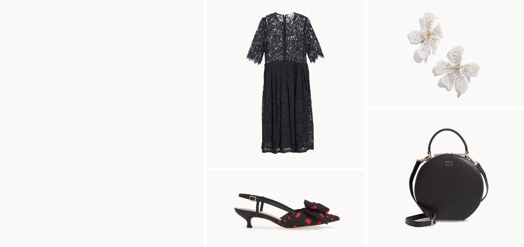 Clothes, shoes and accessories for a romantic night out.