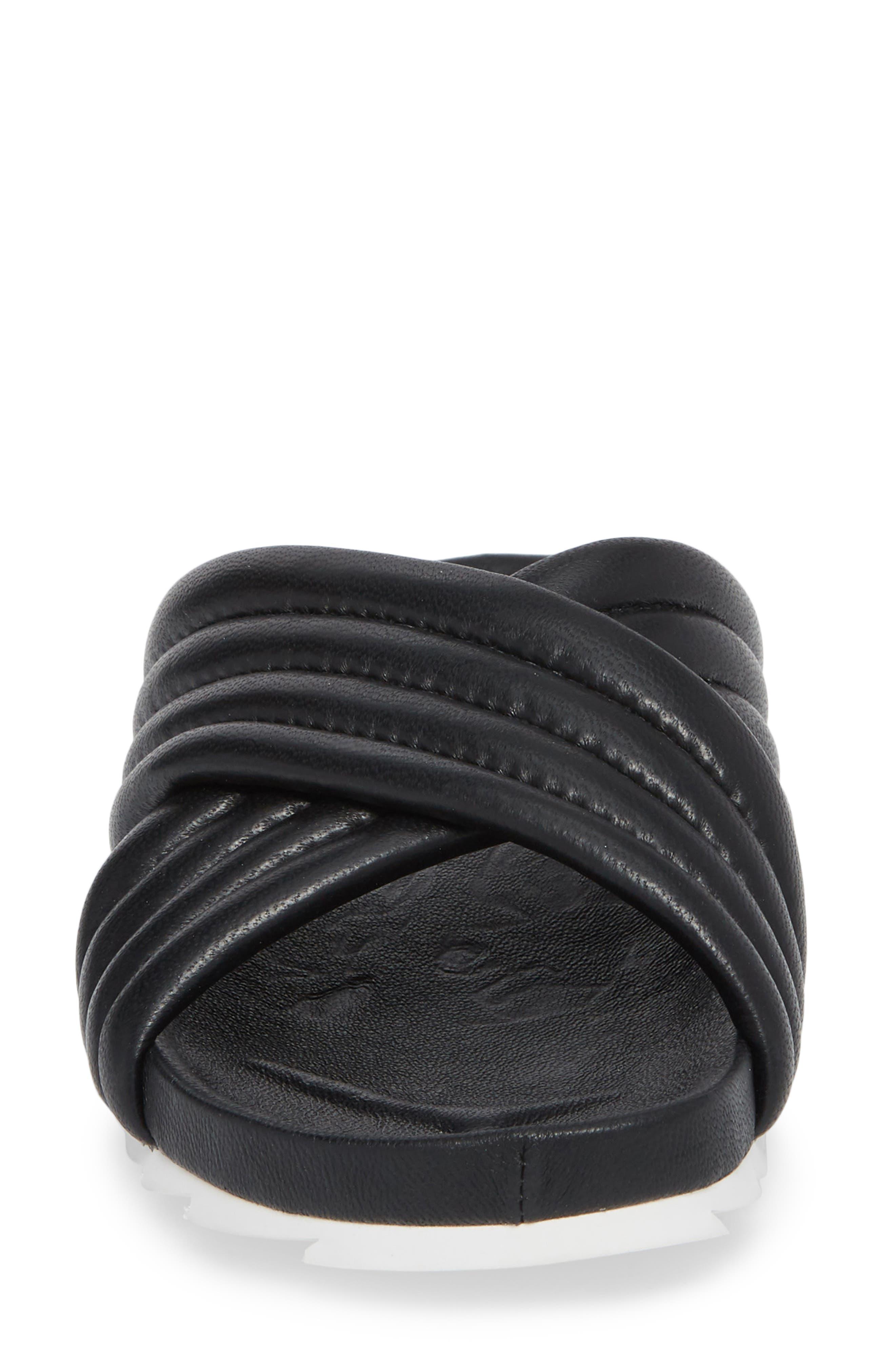 Easy Slide Sandal,                             Alternate thumbnail 4, color,                             BLACK LEATHER