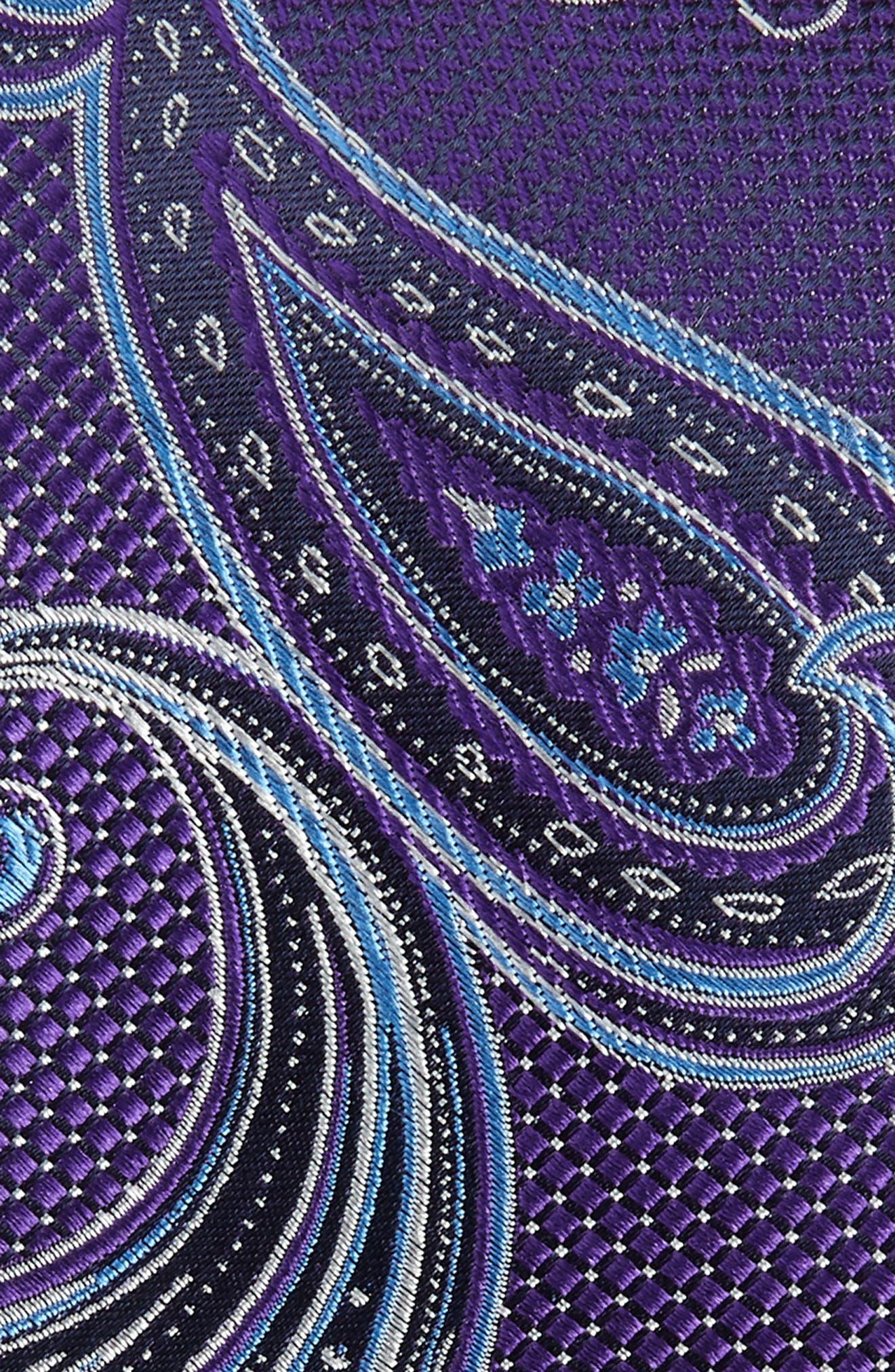 Bryce Paisley Silk Tie,                             Alternate thumbnail 2, color,                             PURPLE