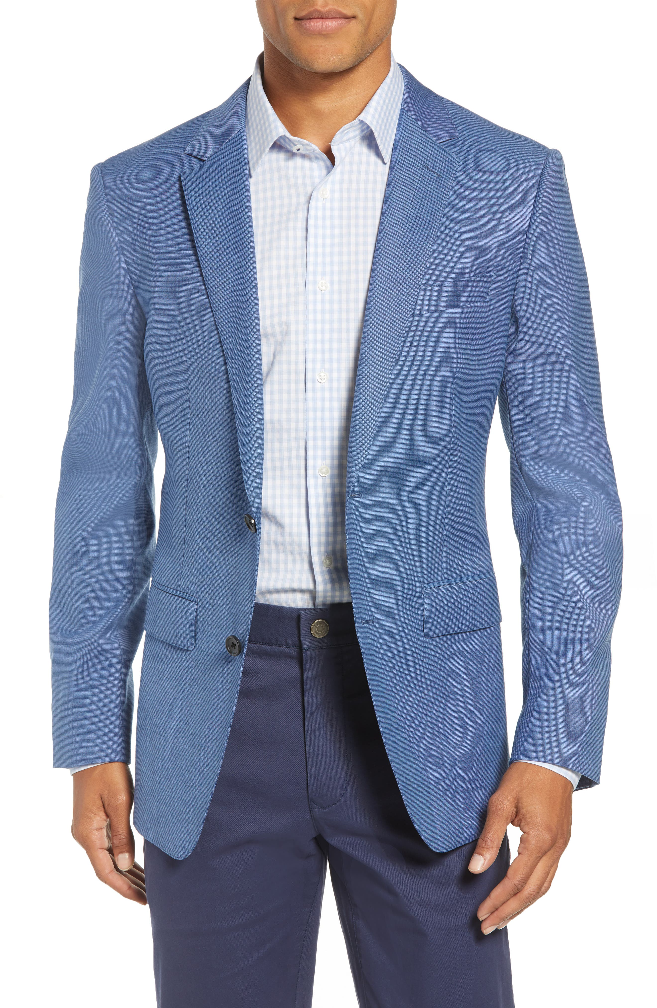 Jetsetter Trim Fit Stretch Solid Wool Suit Jacket,                         Main,                         color, BRIGHTER BLUE