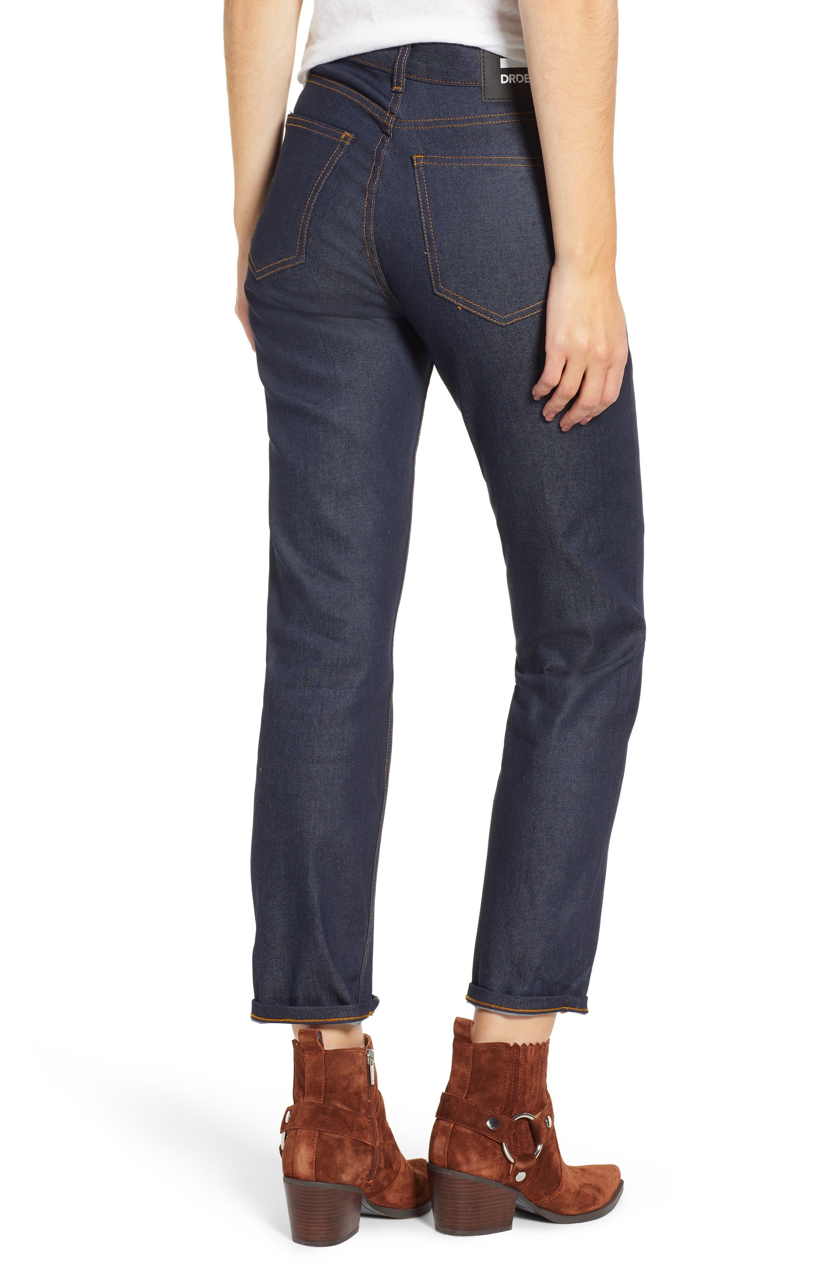 Edie High Waist Crop Jeans,                             Alternate thumbnail 2, color,                             RINSED BLUE