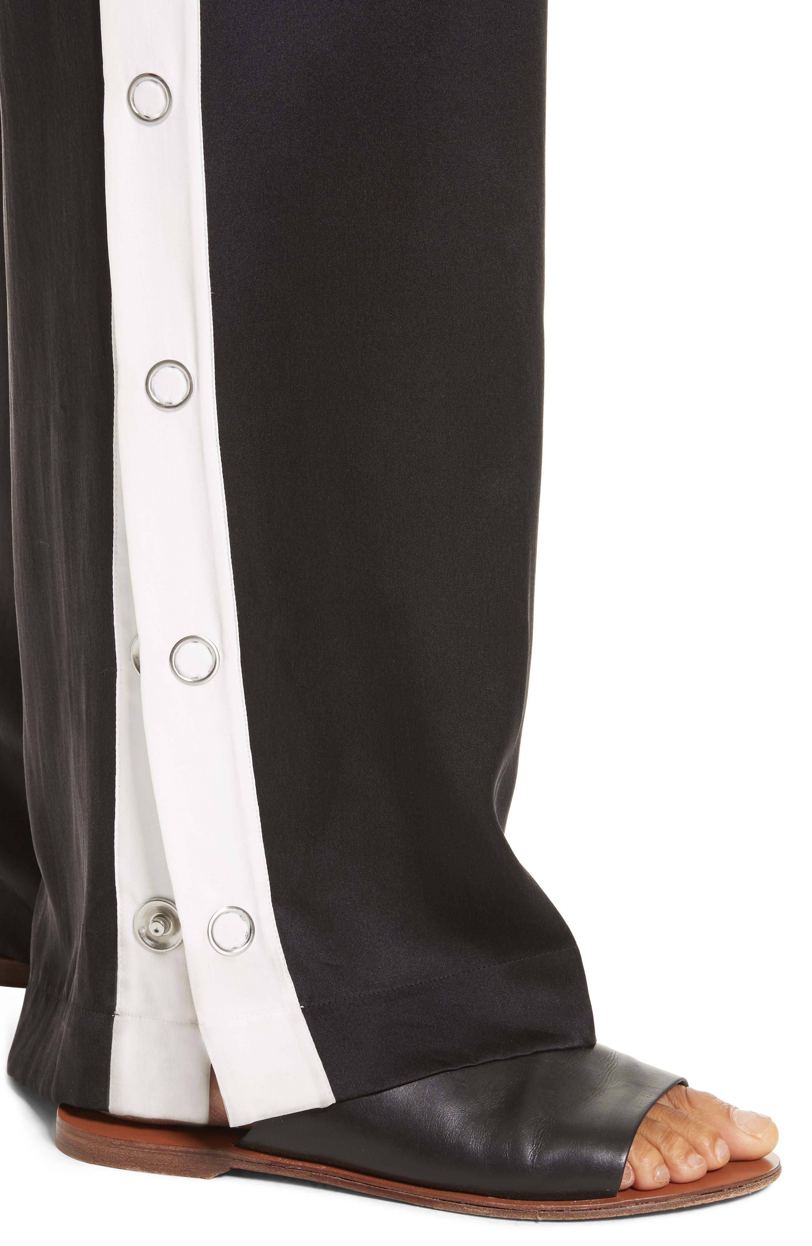 Arwen Wide Leg Silk Pants,                             Alternate thumbnail 4, color,                             003