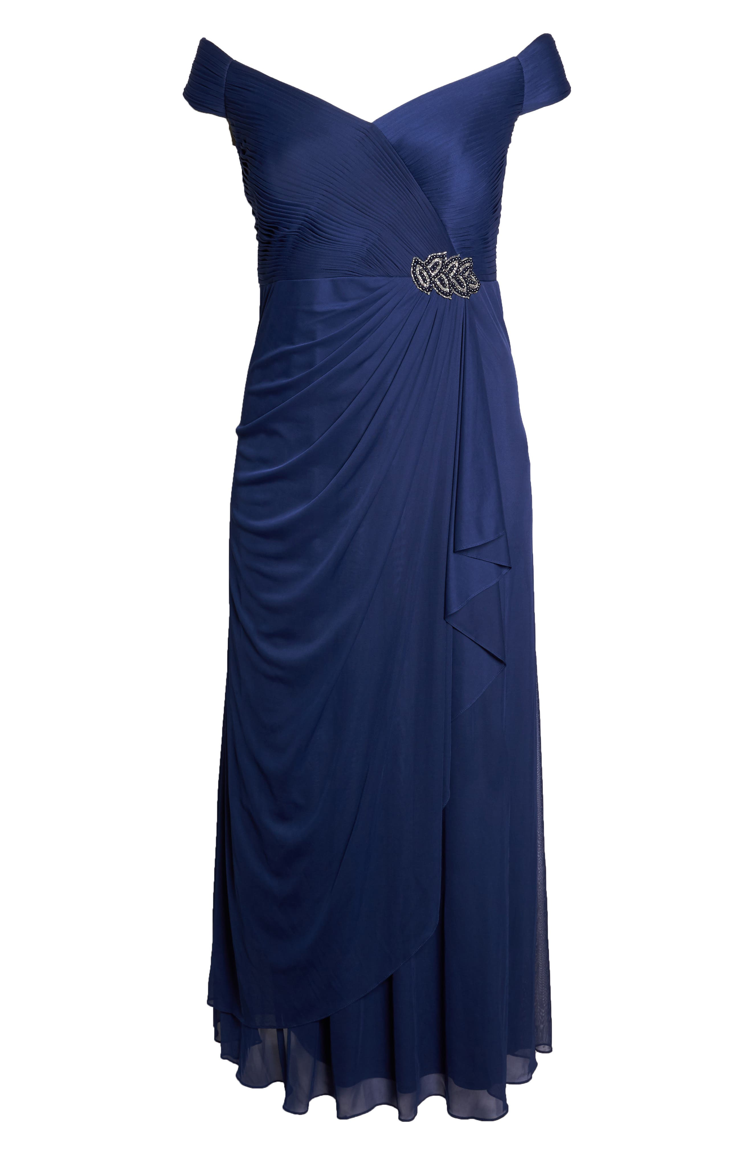 Embellished Pleat Gown,                             Alternate thumbnail 7, color,                             DEEP VIOLET