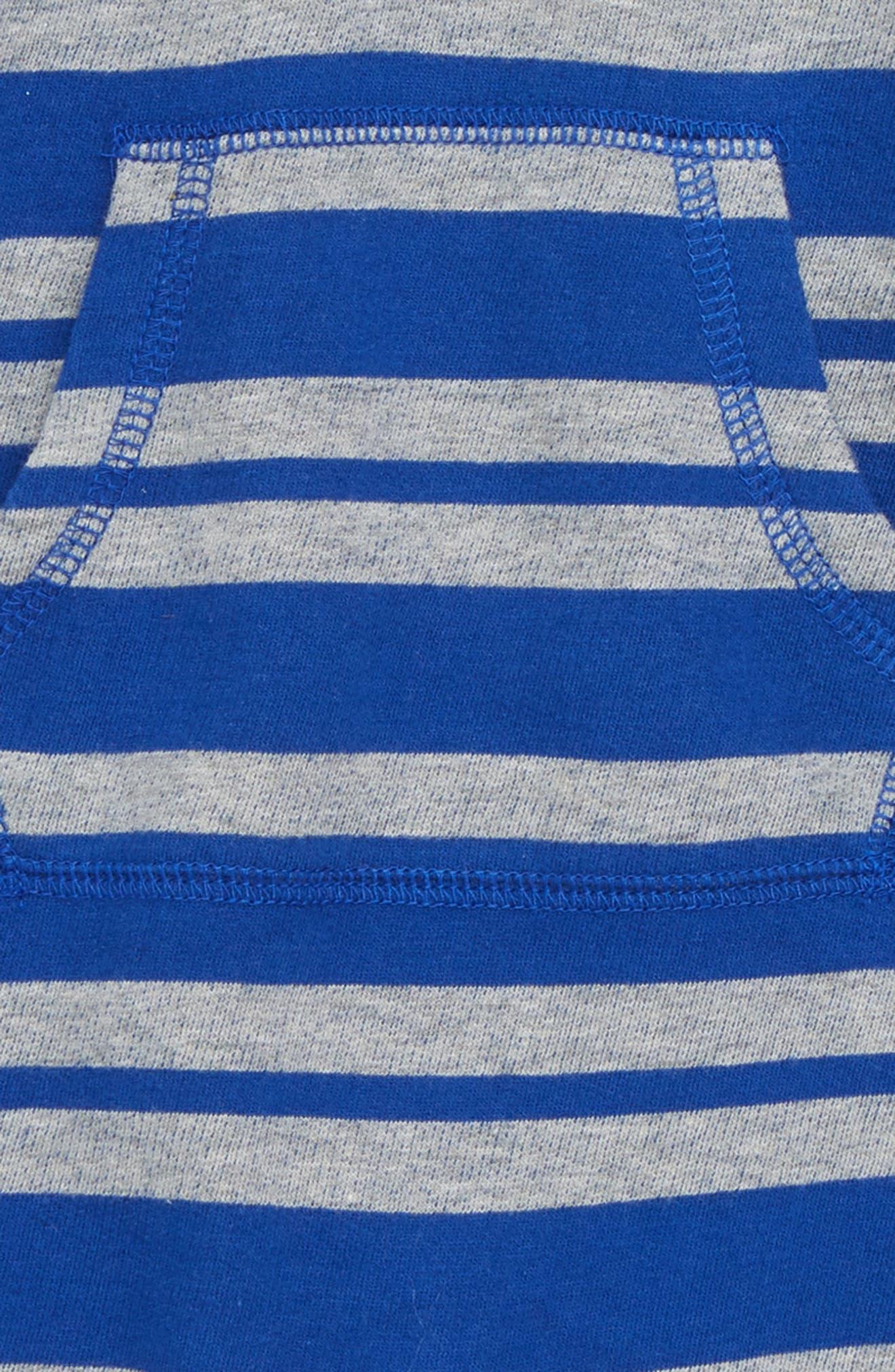 Stripe Hooded Romper,                             Alternate thumbnail 2, color,                             BLUE MAZARINE- GREY STRIPE