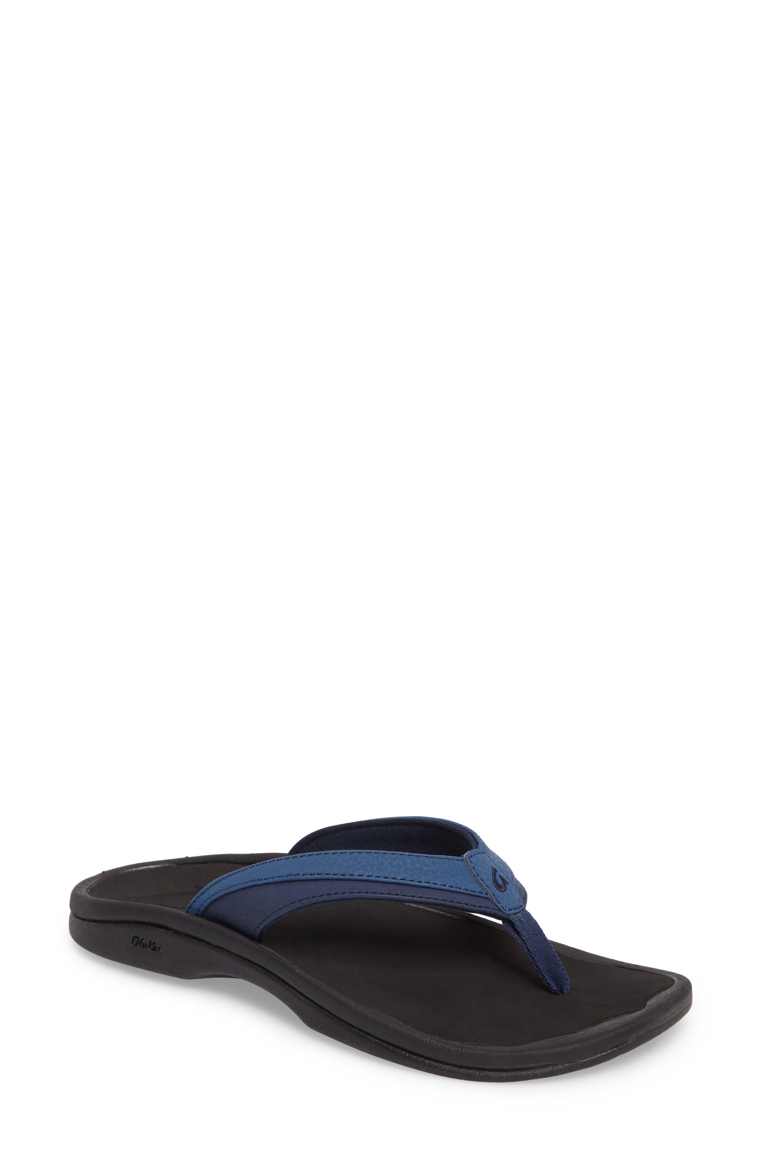 Ohana Sandal,                         Main,                         color, BLUEBERRY/ BLACK FAUX LEATHER