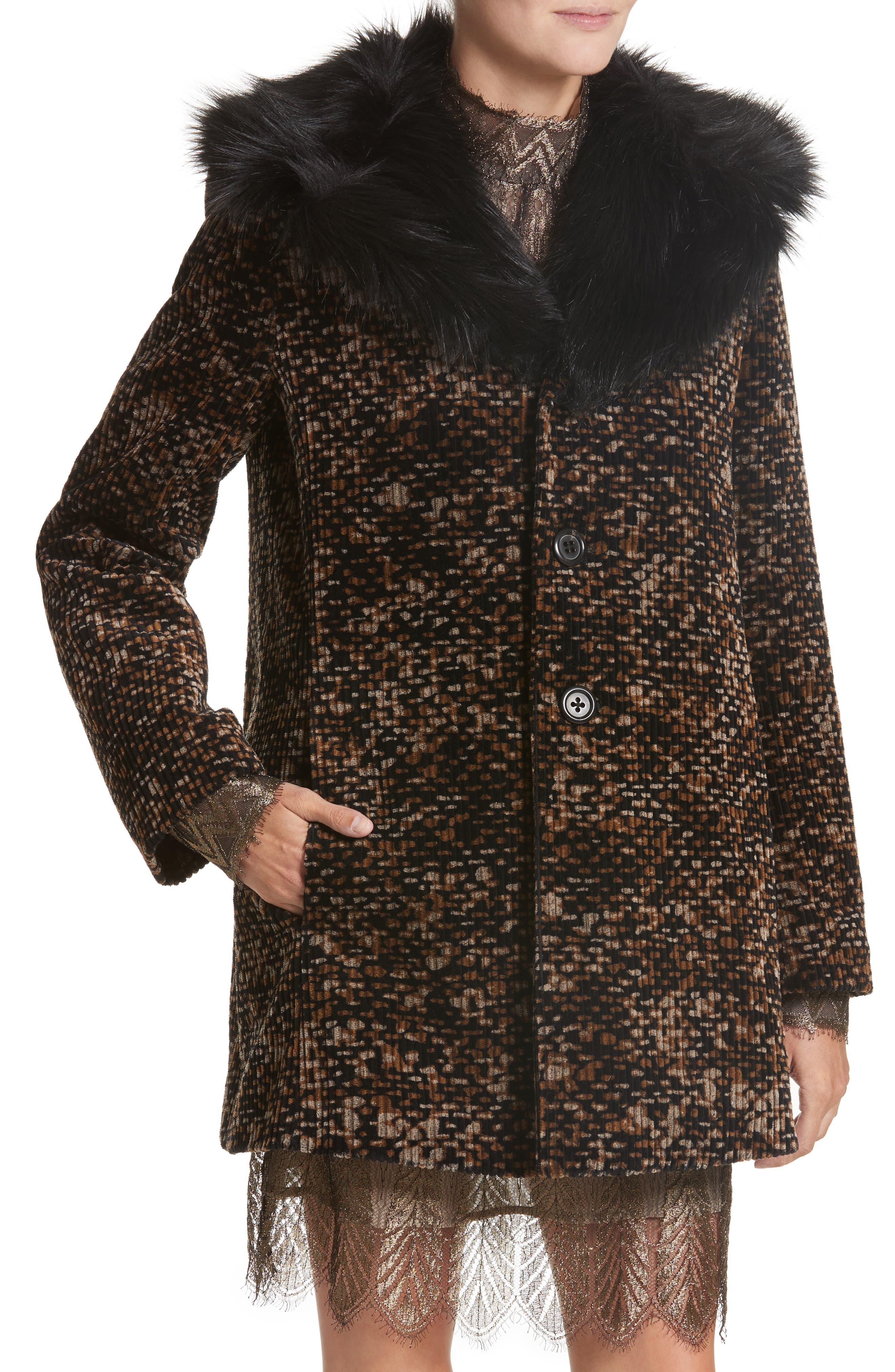 Faux Fur Trim Corduroy Coat,                             Alternate thumbnail 4, color,                             001