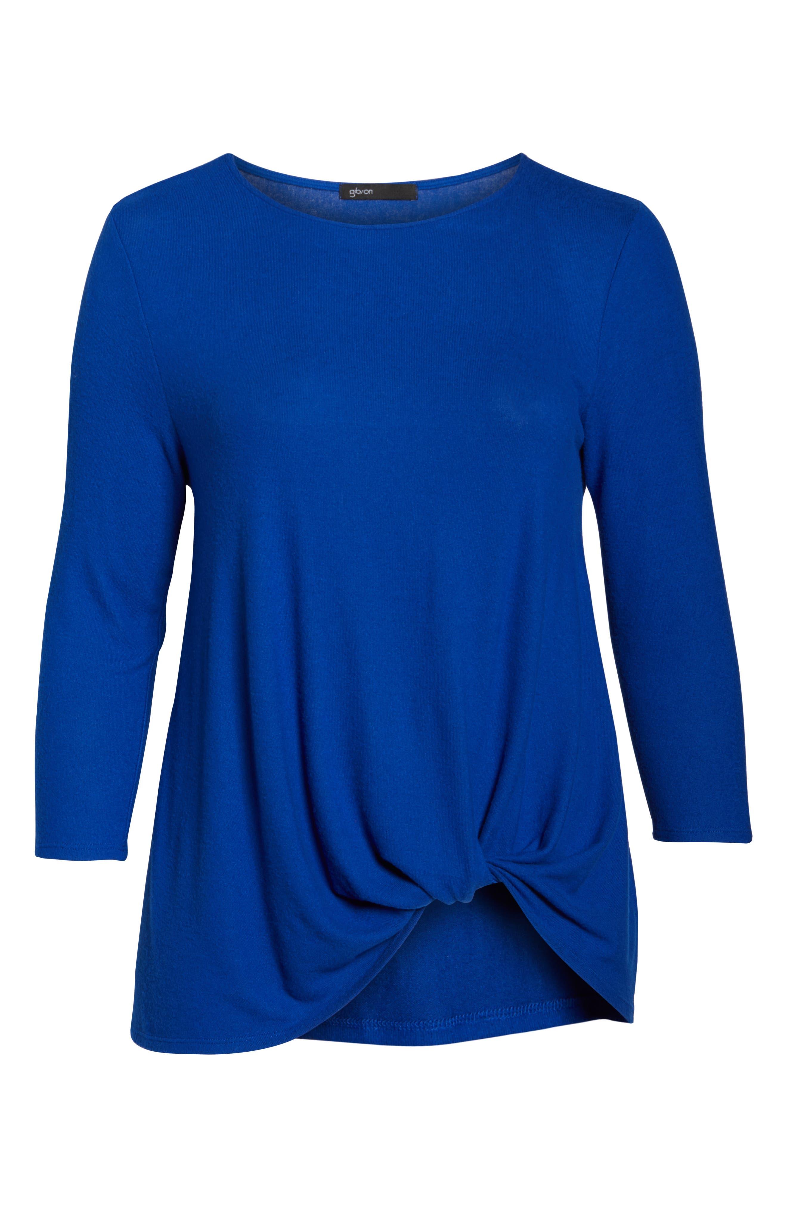 Twist Front Cozy Pullover,                             Alternate thumbnail 6, color,                             BLUE MAZE